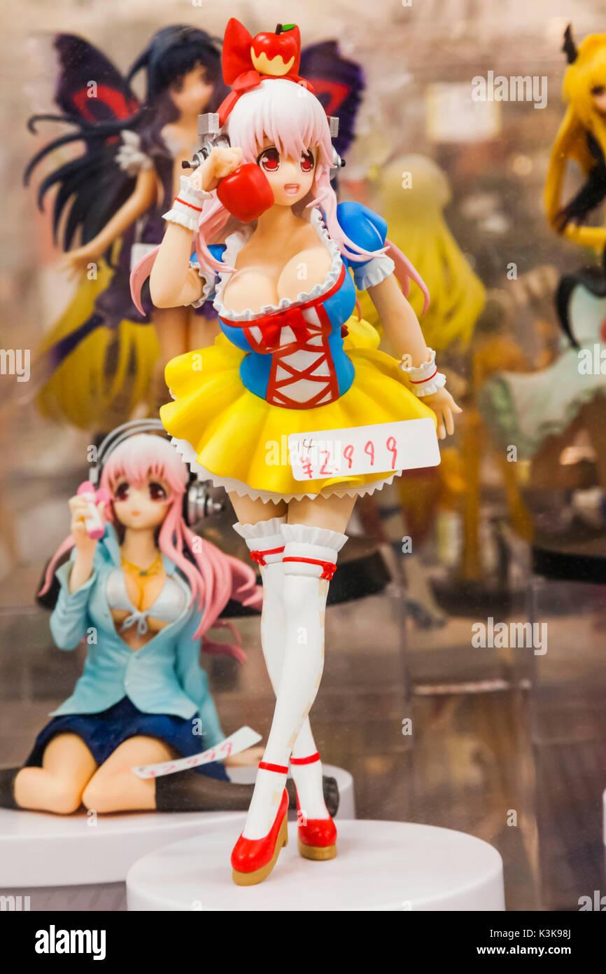 Japan, Hoshu, Tokyo, Akihabara, Cosplay Doll Figures - Stock Image