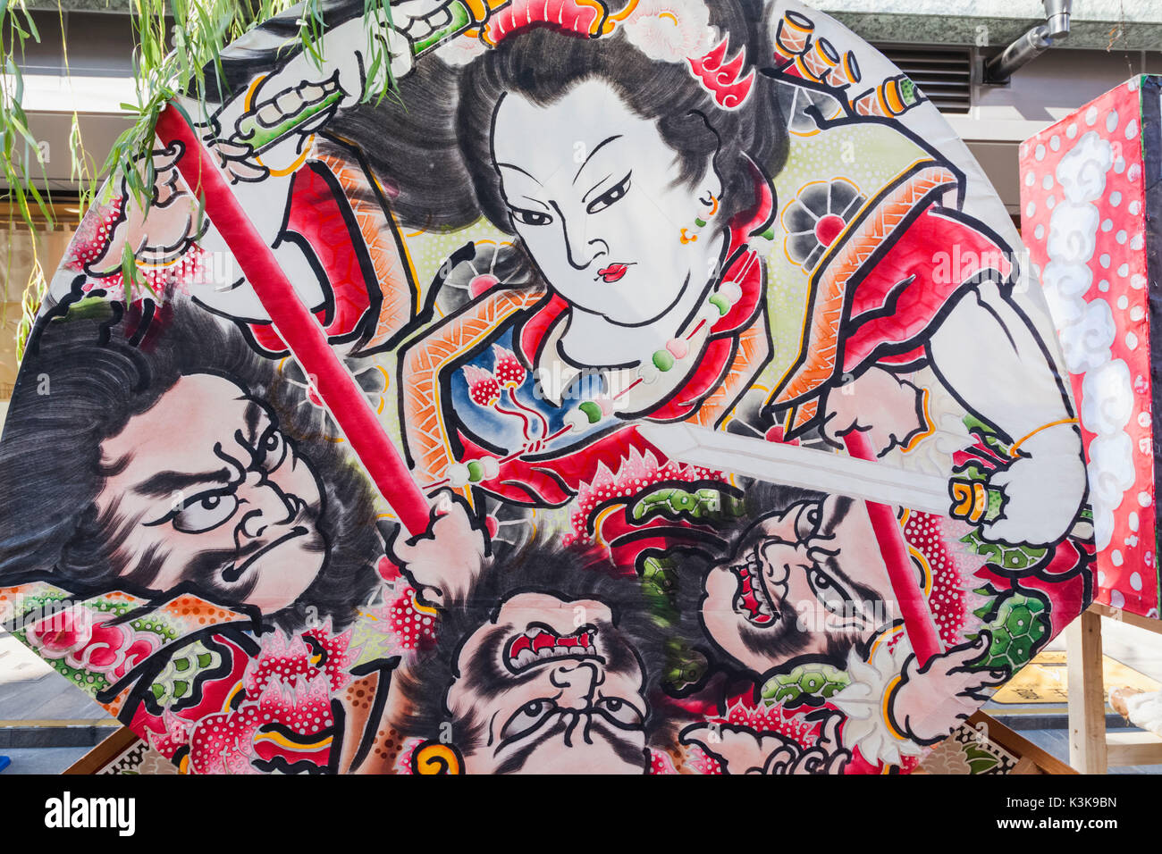 Japan, Hoshu, Tokyo, Asakusa, Nebuta Festival, Float with depictions of Warrior Figures - Stock Image