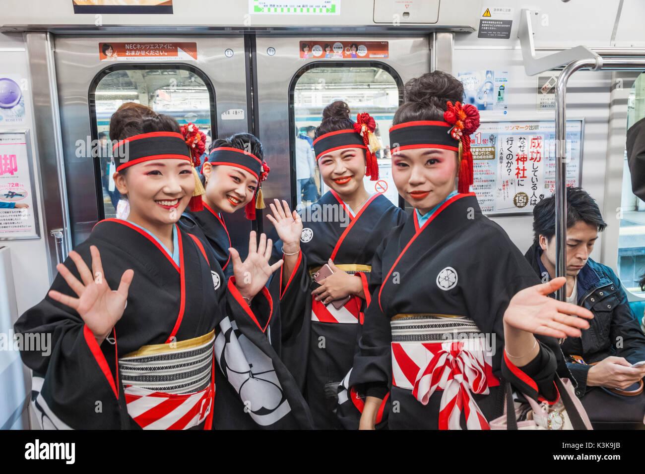 Japan, Hoshu, Tokyo, Yamanote Train Line, Passengers - Stock Image