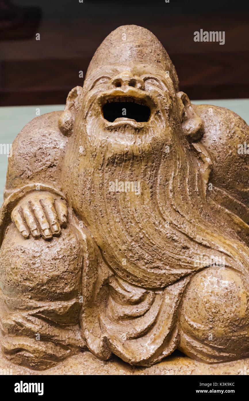 Japan, Hoshu, Tokyo, Ueno Park, Tokyo National Museum, Honkan Hall, Pottery Incense Burner depicting Juro (God of Longevity), by Nin'ami Dohachi dated 1843 - Stock Image