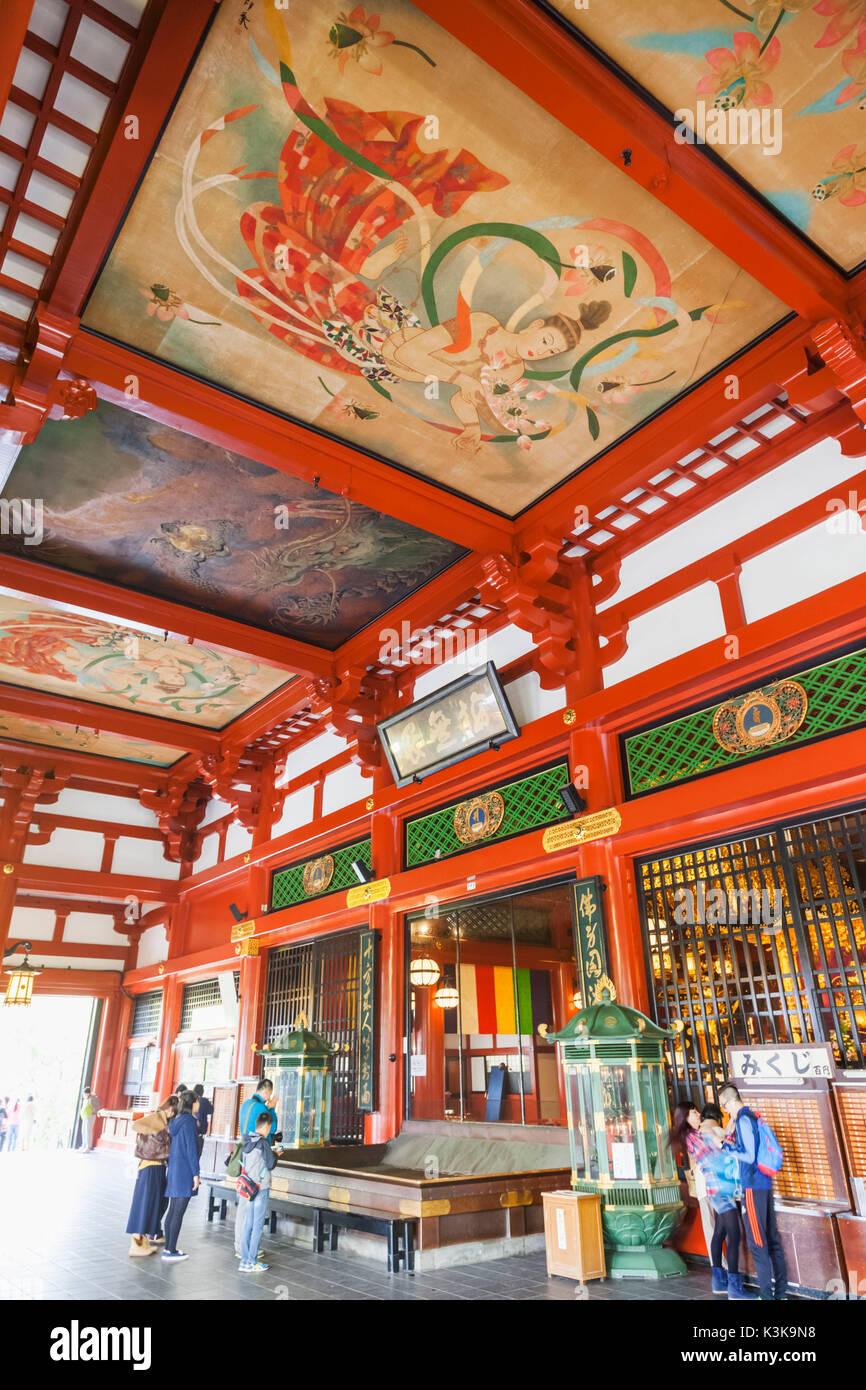 Japan, Hoshu, Tokyo, Asakusa, Asakusa Kannon Temple aka Sensoji, The Main Hall - Stock Image