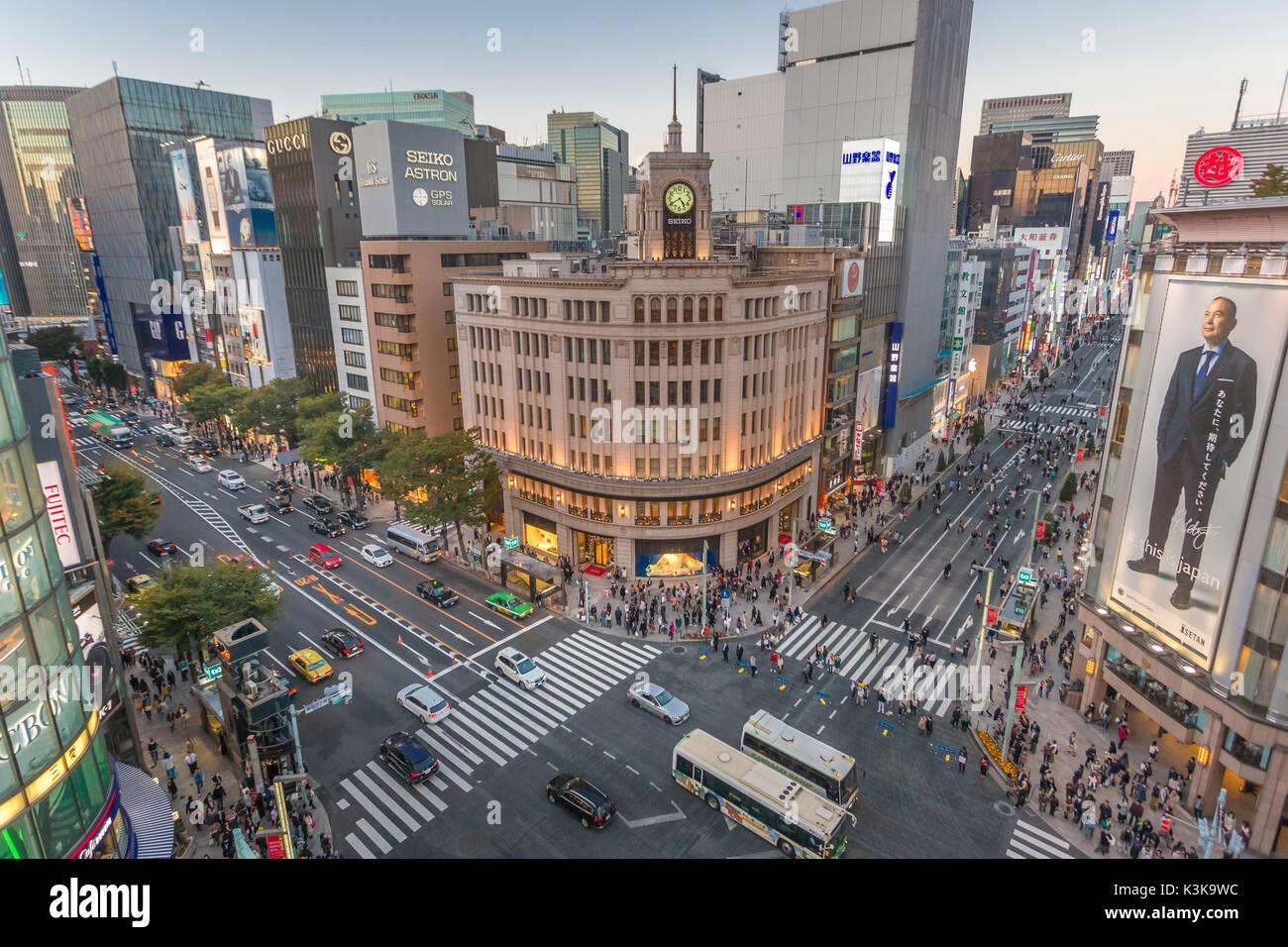 Japan, Tokyo City, Ginza Area, Harumi and Chuo Avenues crossing,Wako Bldg. - Stock Image