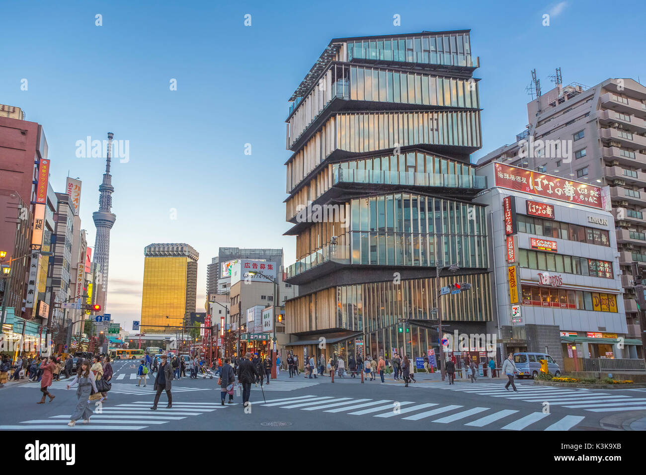 Japan, Tokyo City, Asakusa District, Asakusa Culture Information Center Bldg., Sky Tree Tower. - Stock Image