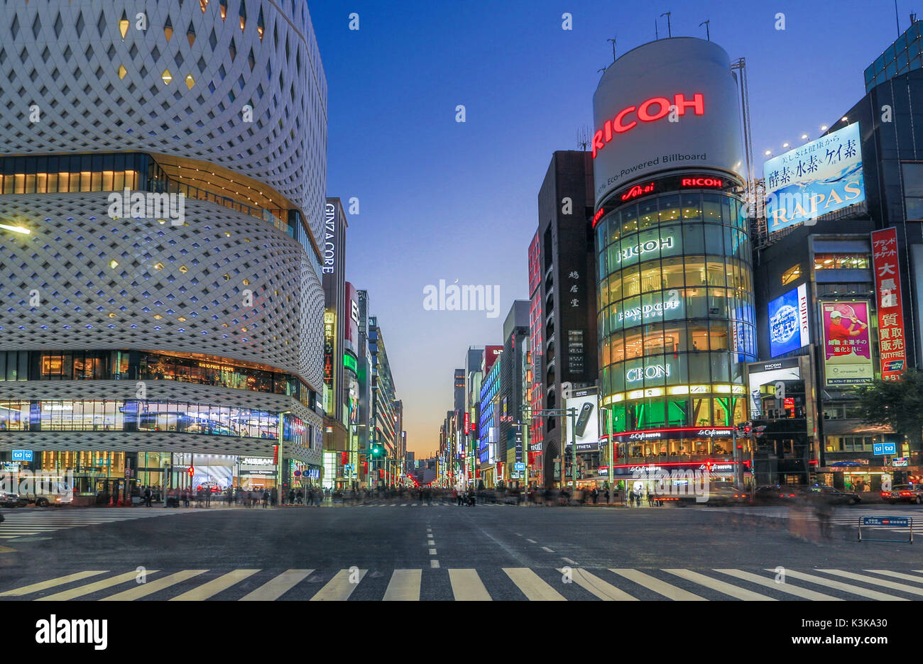 Japan, Tokyo City, Ginza Area, Night View, Chuo Avenue - Stock Image