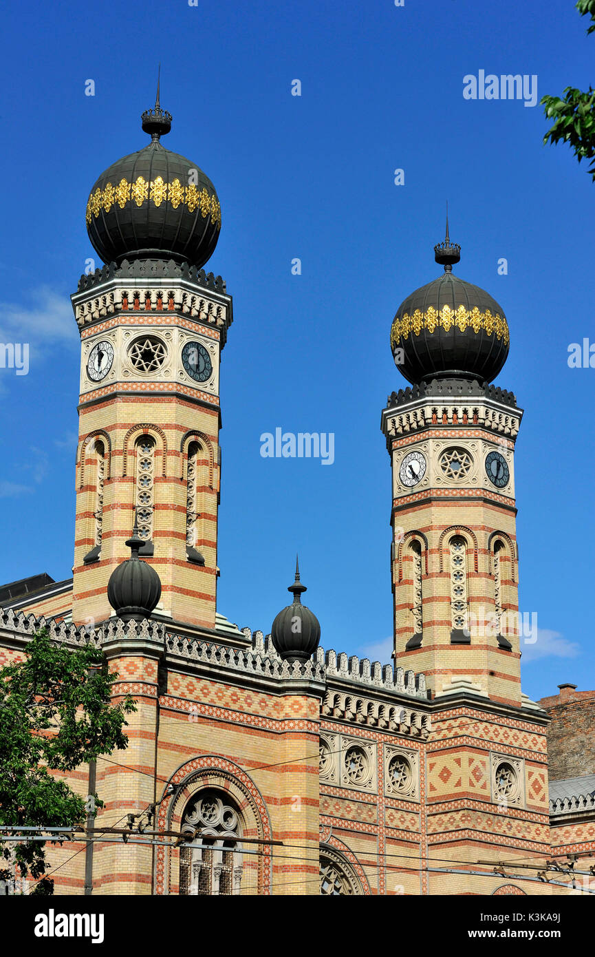 Hungary, Budapest, listed as World Heritage by UNESCO, the Great Synagogue built between 1854 and 1859 by Viennese architect Ludwig Förster in moresque style - Stock Image
