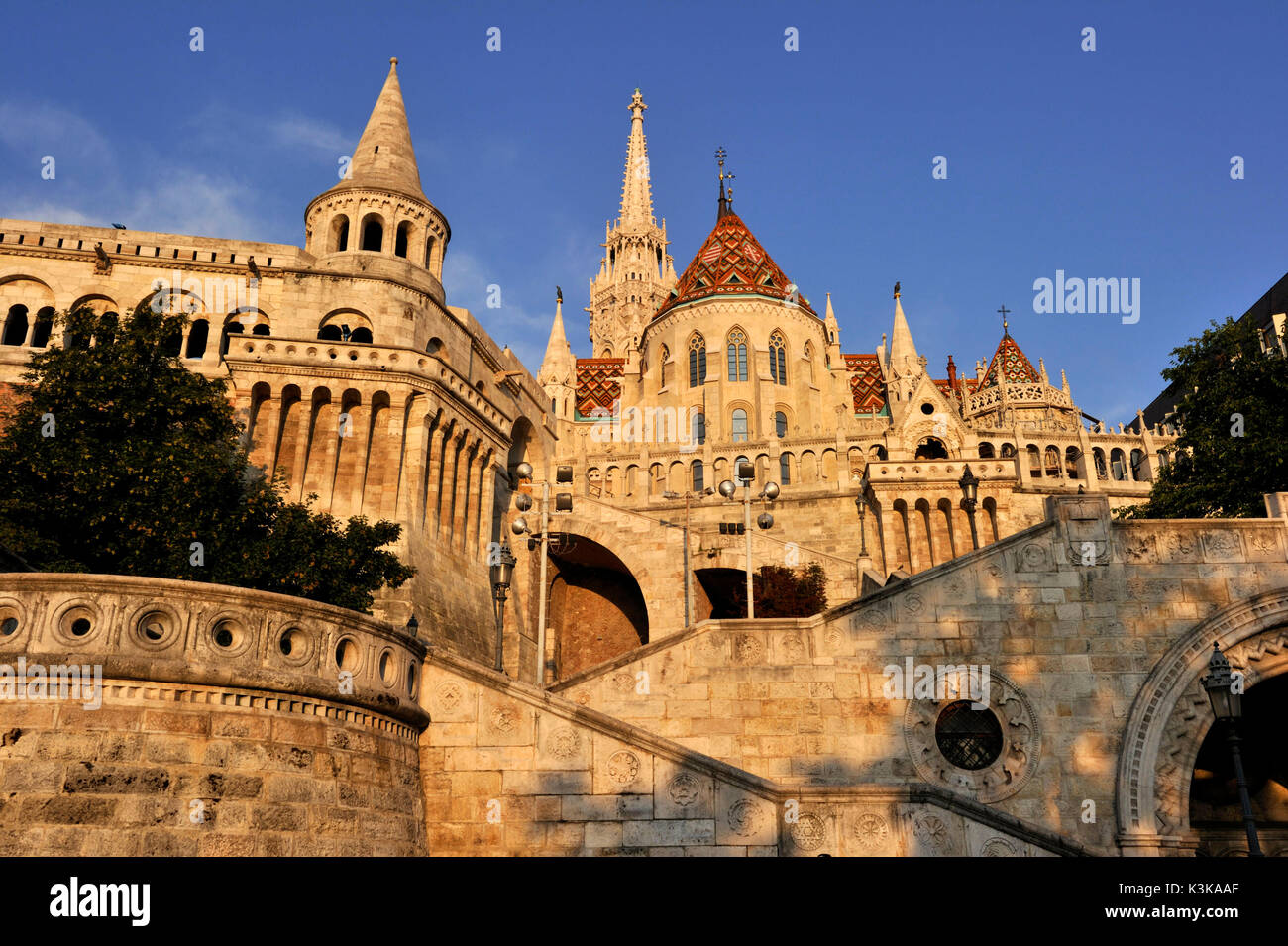 Hungary, Budapest, Fisherman's Bastion and Mathias Church located in the historical Buda Castle district listed Stock Photo