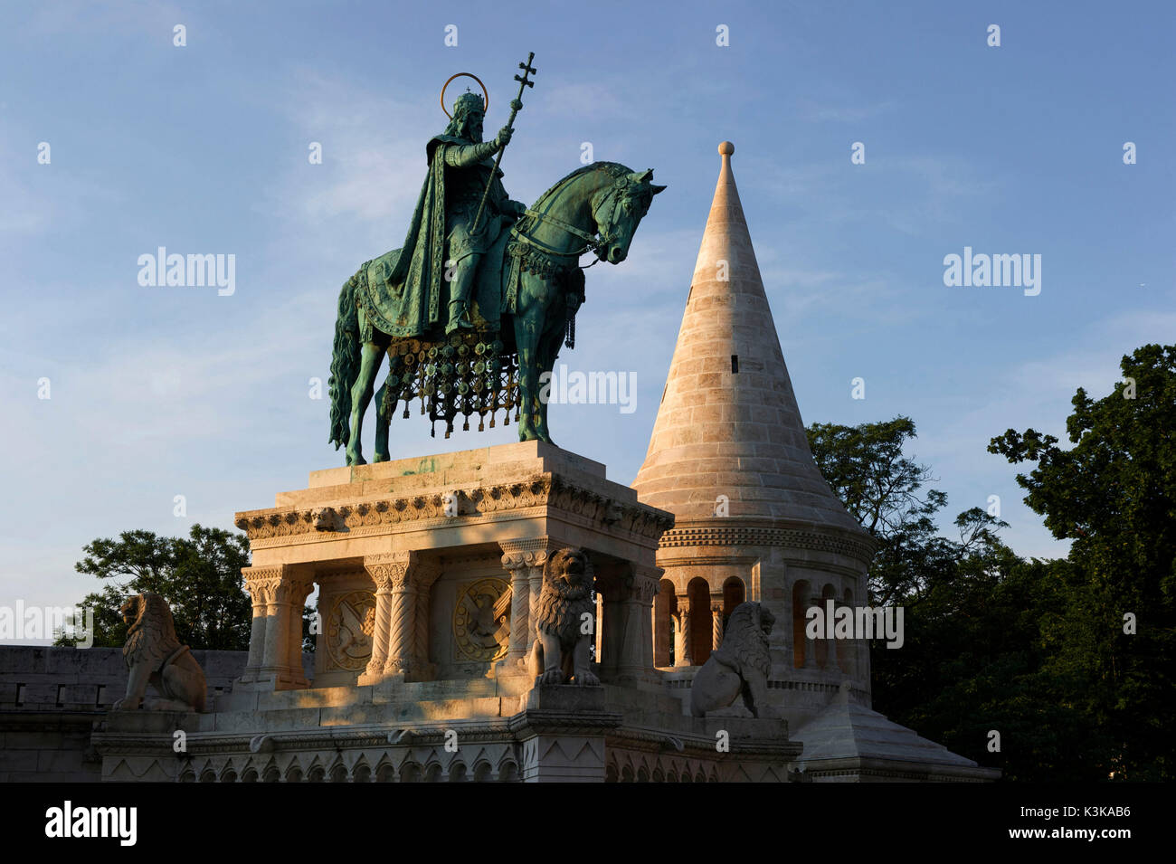 Hungary, Budapest, Fishermans Bastion with the equestrian Memorial of Saint Stephen King of Ungary, located in the Stock Photo