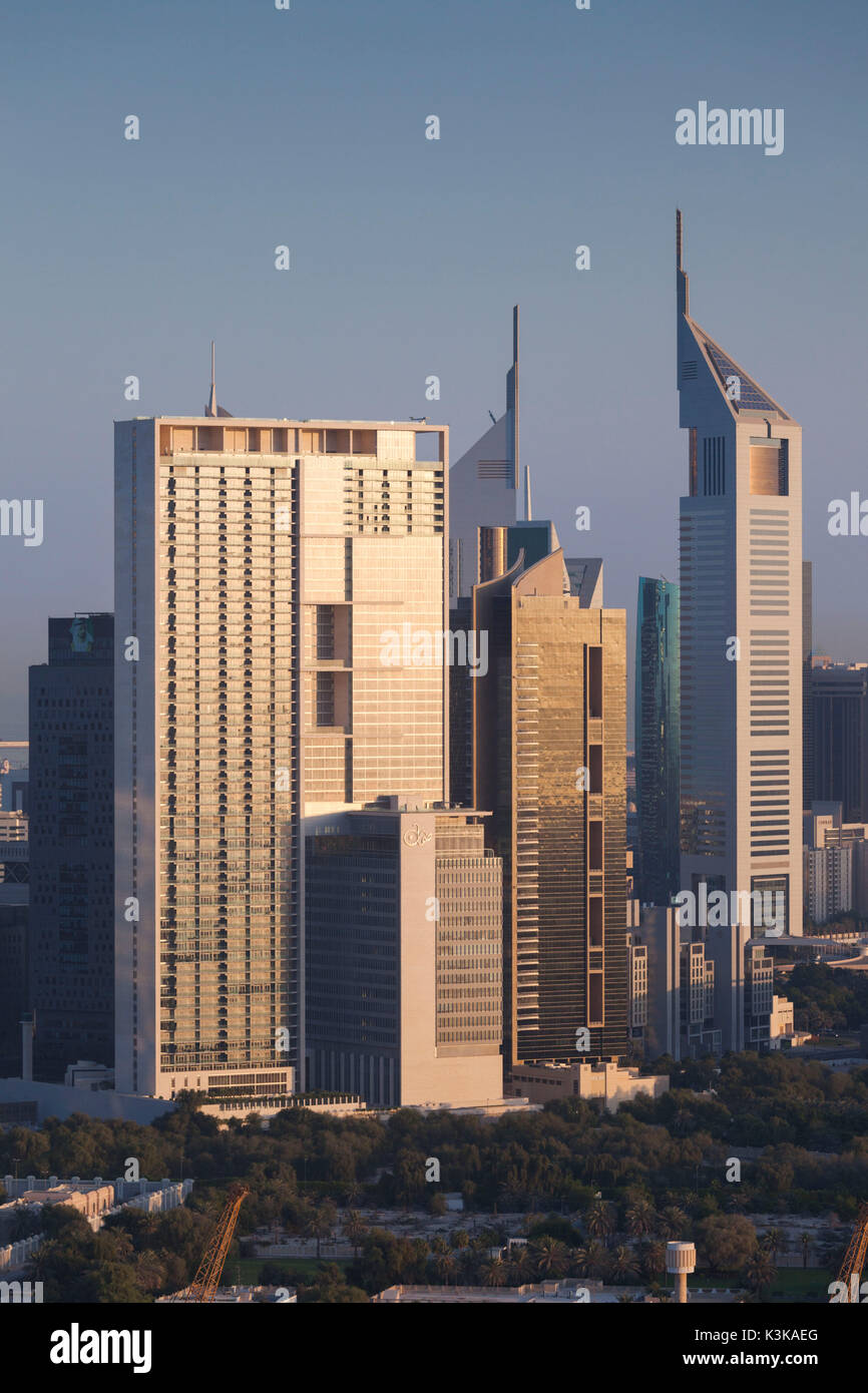UAE, Dubai, Downtown Dubai, elevated view of skyscrapers on Sheikh Zayed Road from downtown, dawn - Stock Image