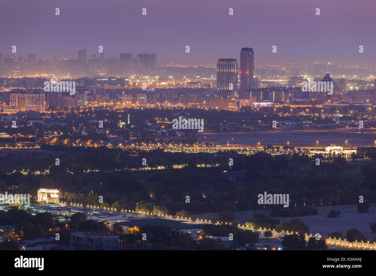 UAE, Dubai, Downtown Dubai, elevated desert and highway view towards Ras Al Khor, dawn - Stock Image