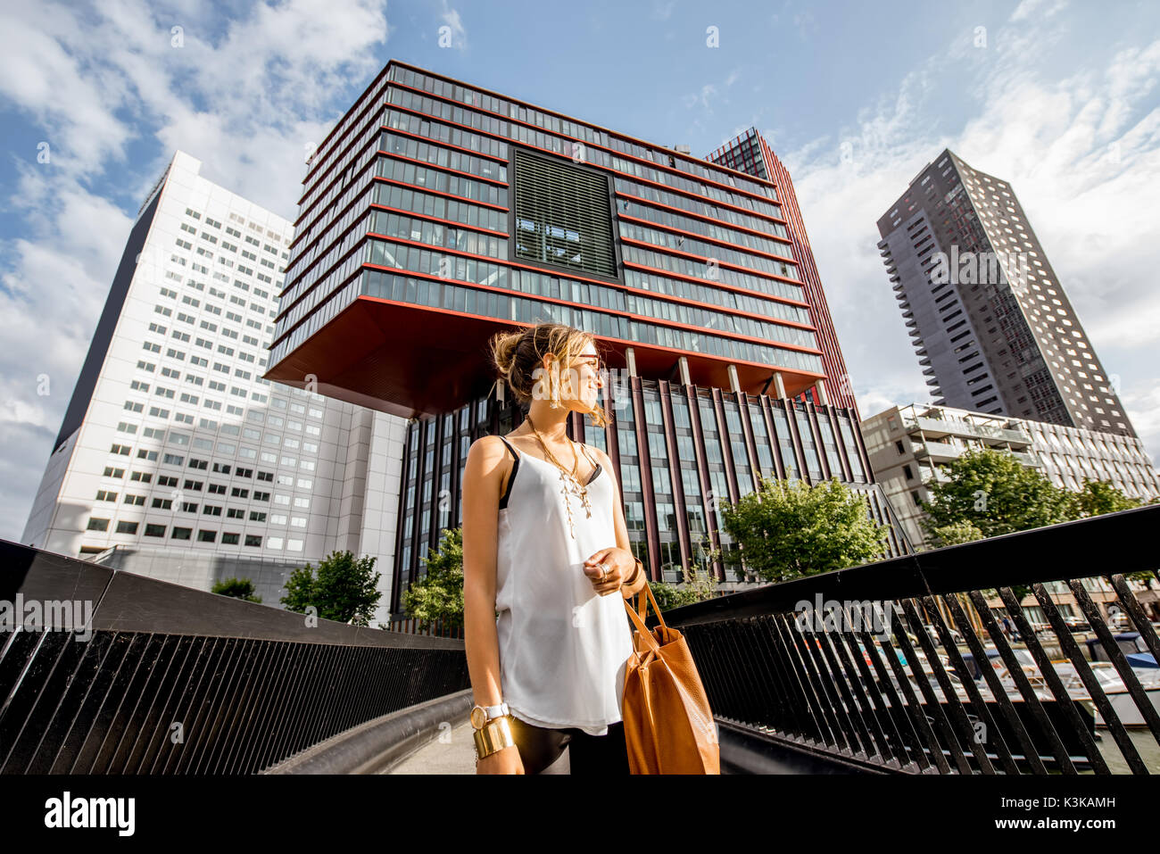 Woman in Rotterdam city - Stock Image