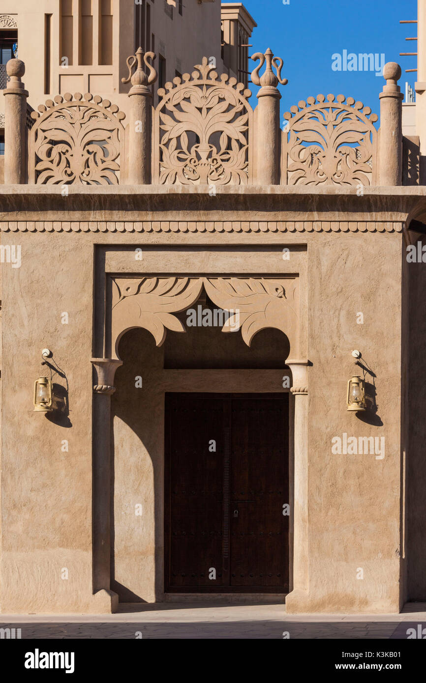 UAE, Dubai, Bur Dubai, Al Fahidi Historic District, traditional Emirati architecture Stock Photo