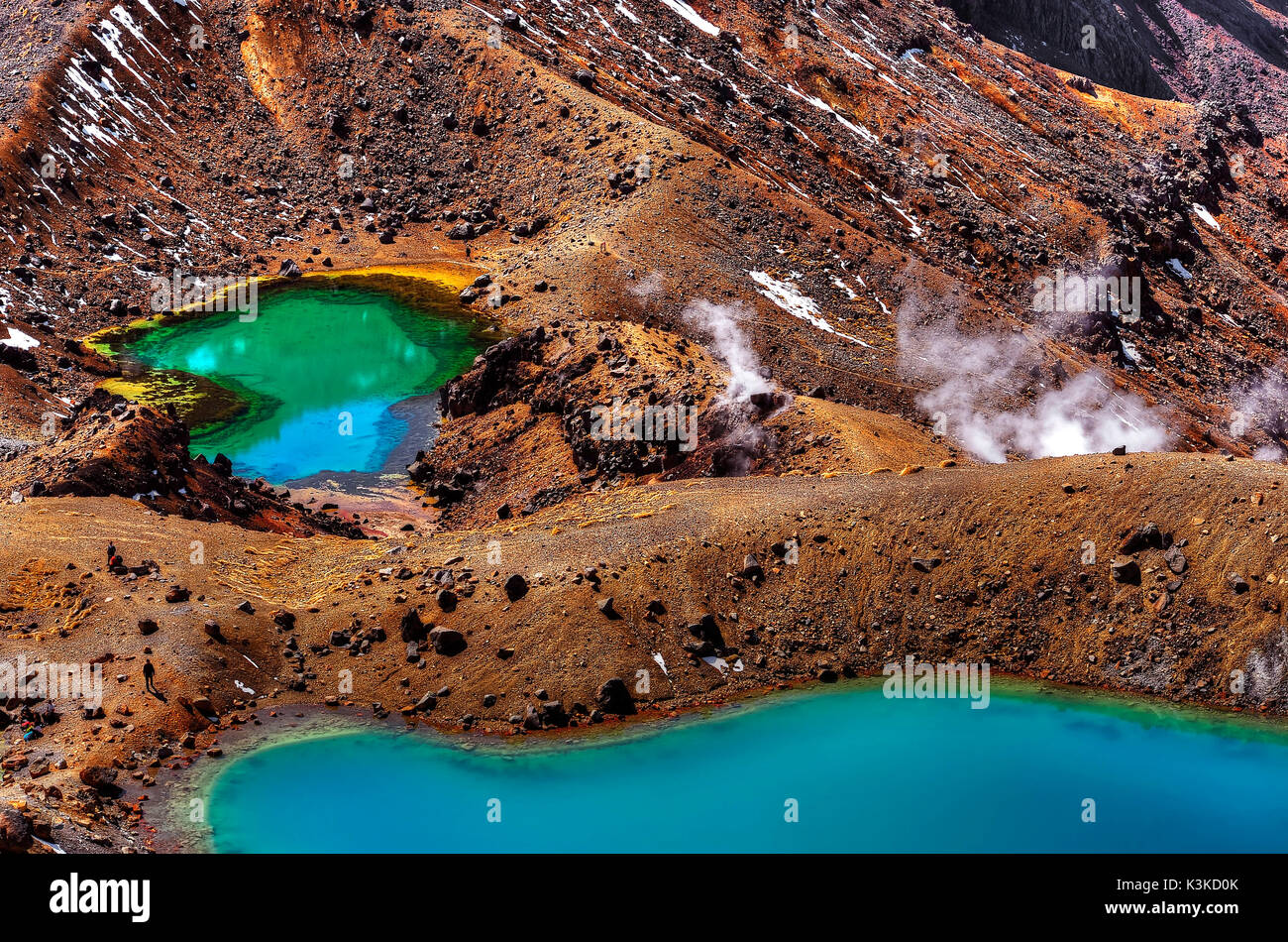 Emerald Lakes in the volcano Mt. Ngauruhoe gleam in coloured colours. - Stock Image
