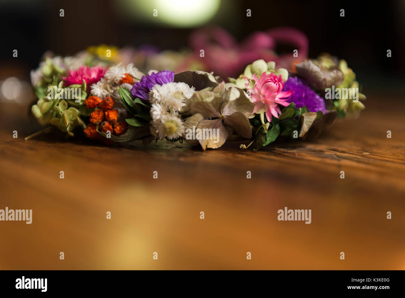 Floral wreath with dry flowers - Stock Image