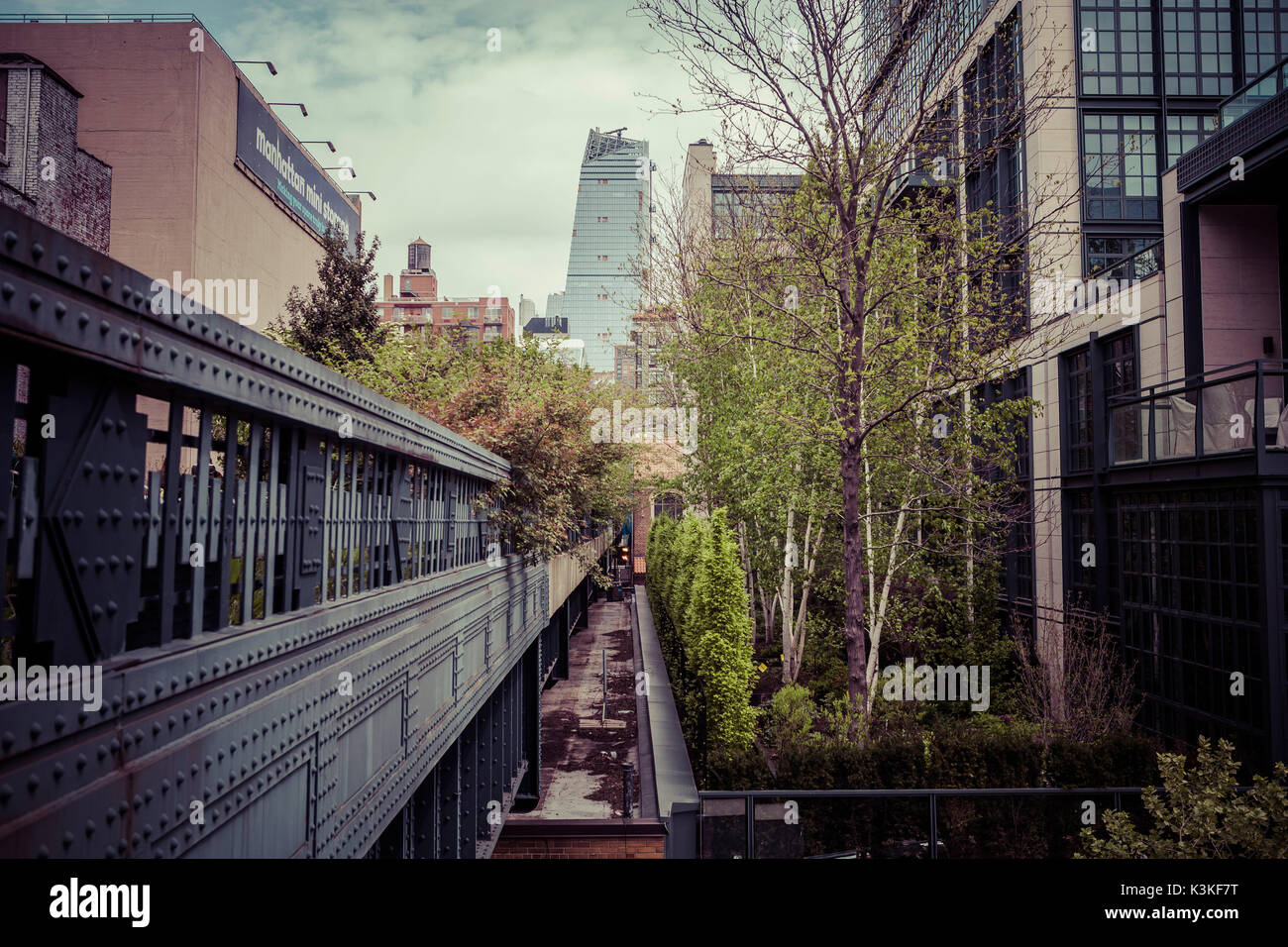 The High Line is a public park built on a historic freight rail line elevated above the streets on Manhattan's West Stock Photo