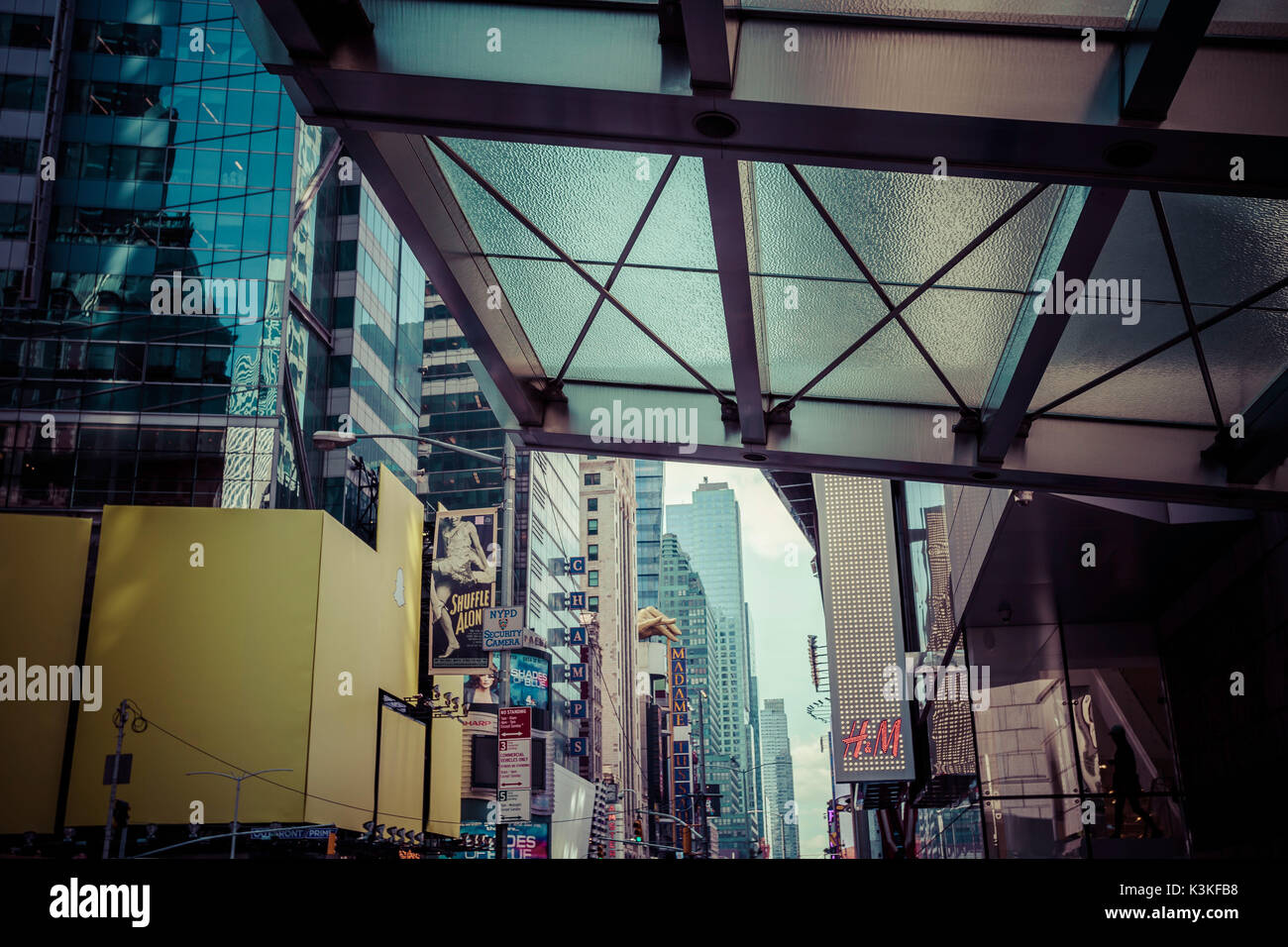 Ads on Time Square, architecture, skyscrapers, Streetview, Manhatten, New York, USA - Stock Image
