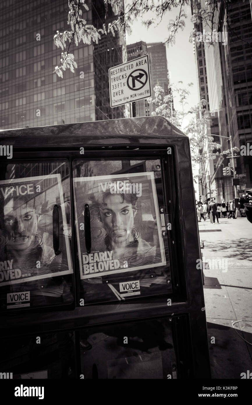 Newspaper box, dearly beloved Prince, Voice Magazine, Streetview, Manhatten, New York, USA - Stock Image