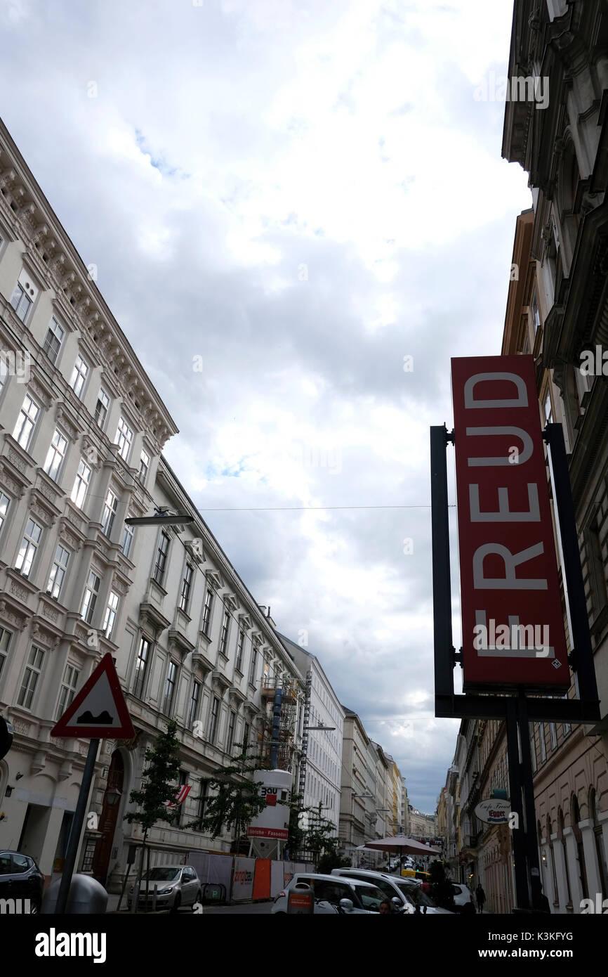 Europe, Austria, Vienna, capital, Sigmund Freud Museum, Freud sign - Stock Image