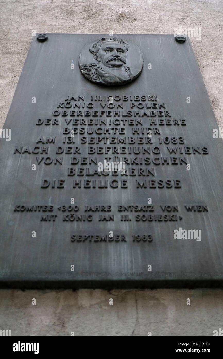 Europe, Austria, Vienna, capital, memorial plaque for Jan III Sobieski, King of Poland - Stock Image