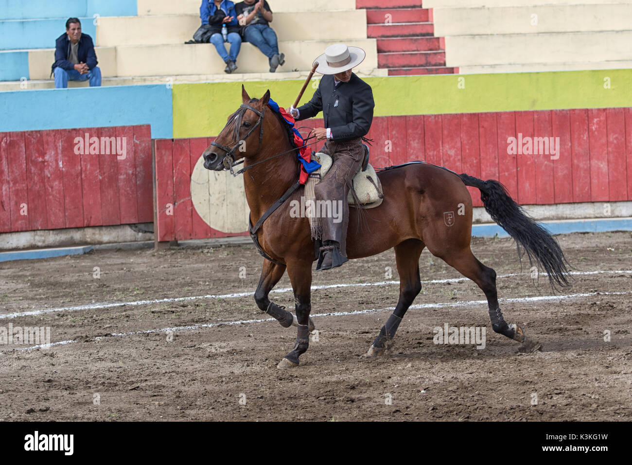 June 18, 2017, Pujili, Ecuador: bullfighter on horseback is getting ready for the ritual fight in the arena Stock Photo