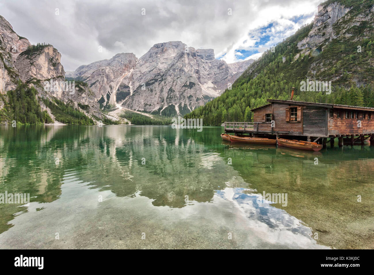 Europe, Italy, Trentino Alto Adige,Bolzano district . Braies lake - Stock Image