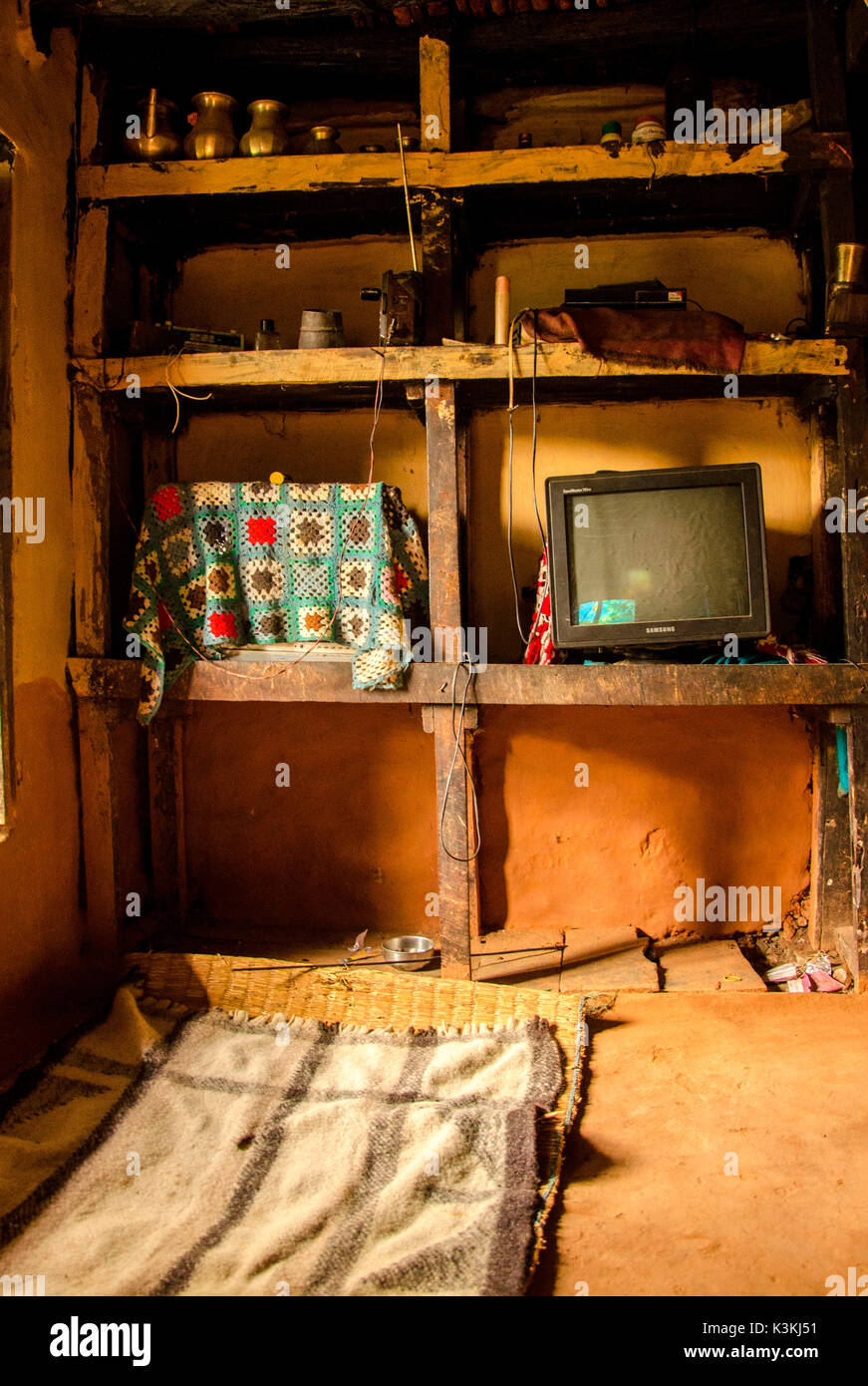 My bedroom for one night during the Indigenous People Trail, a trek around the coutryside of Ramechhap, Nepal, Asia - Stock Image