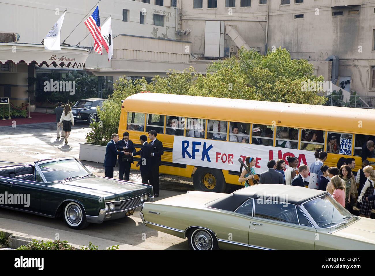 BOBBY [US 2006]  Robert Kennedy's campaign bus outside the Ambassador Hotel       Date: 2006 - Stock Image