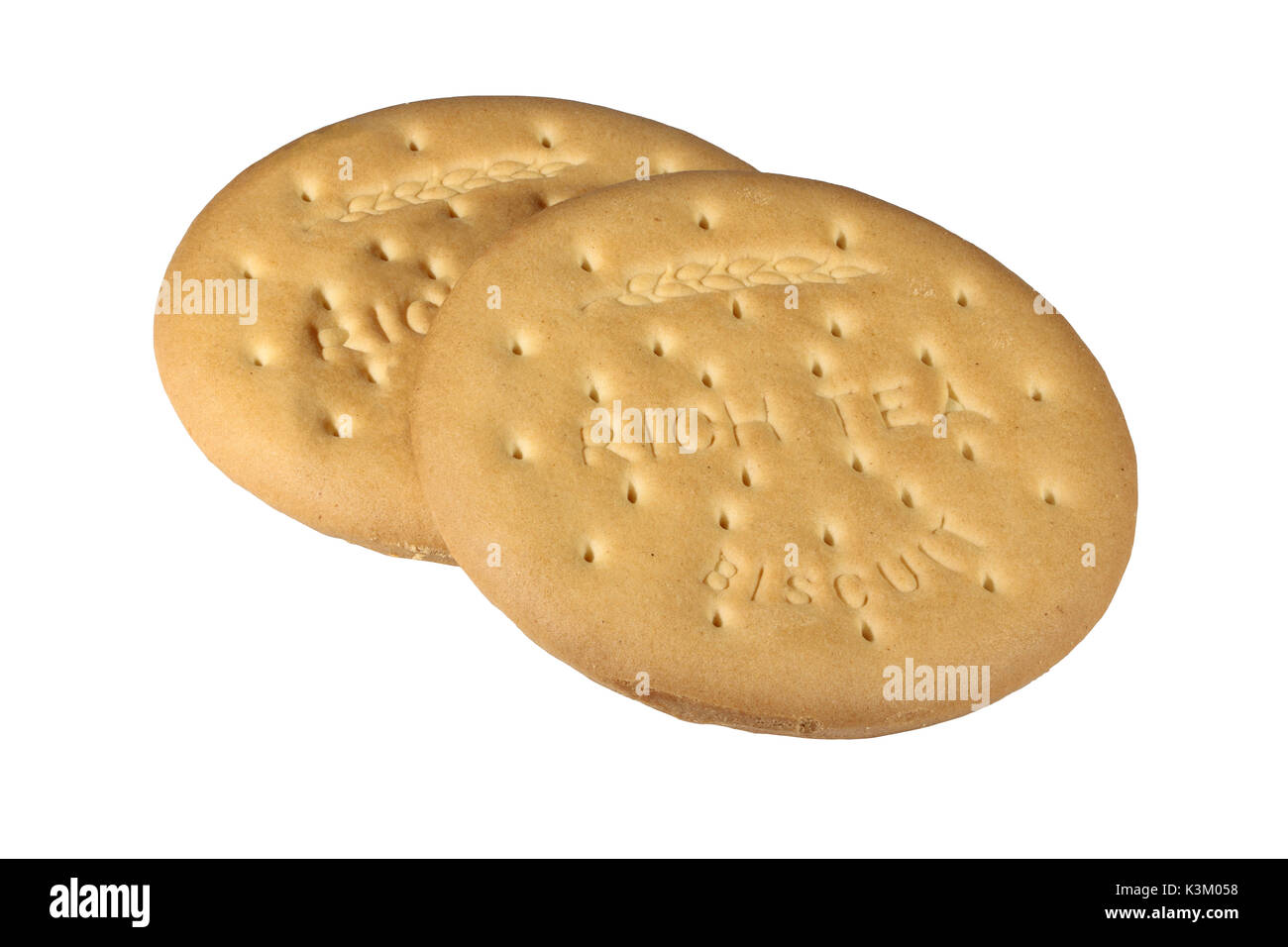 Two rich tea biscuits isolated on a white background - Stock Image