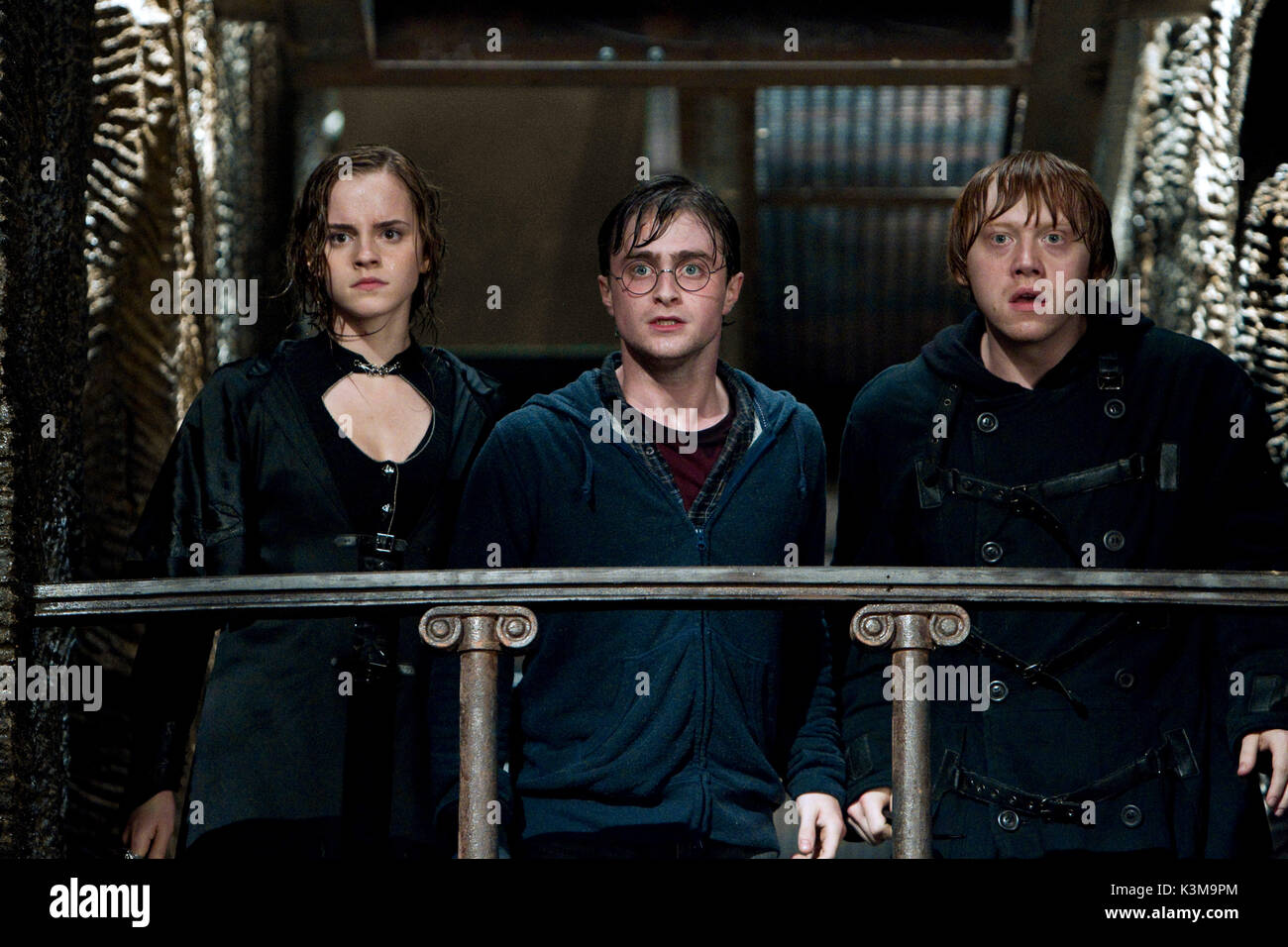 HARRY POTTER AND THE DEATHLY HALLOWS : PART 2 EMMA WATSON as Hermionie Granger, DANIEL RADCLIFFE as Harry Potter, RUPERT GRINT as Ron Weasley     Date: 2011 - Stock Image