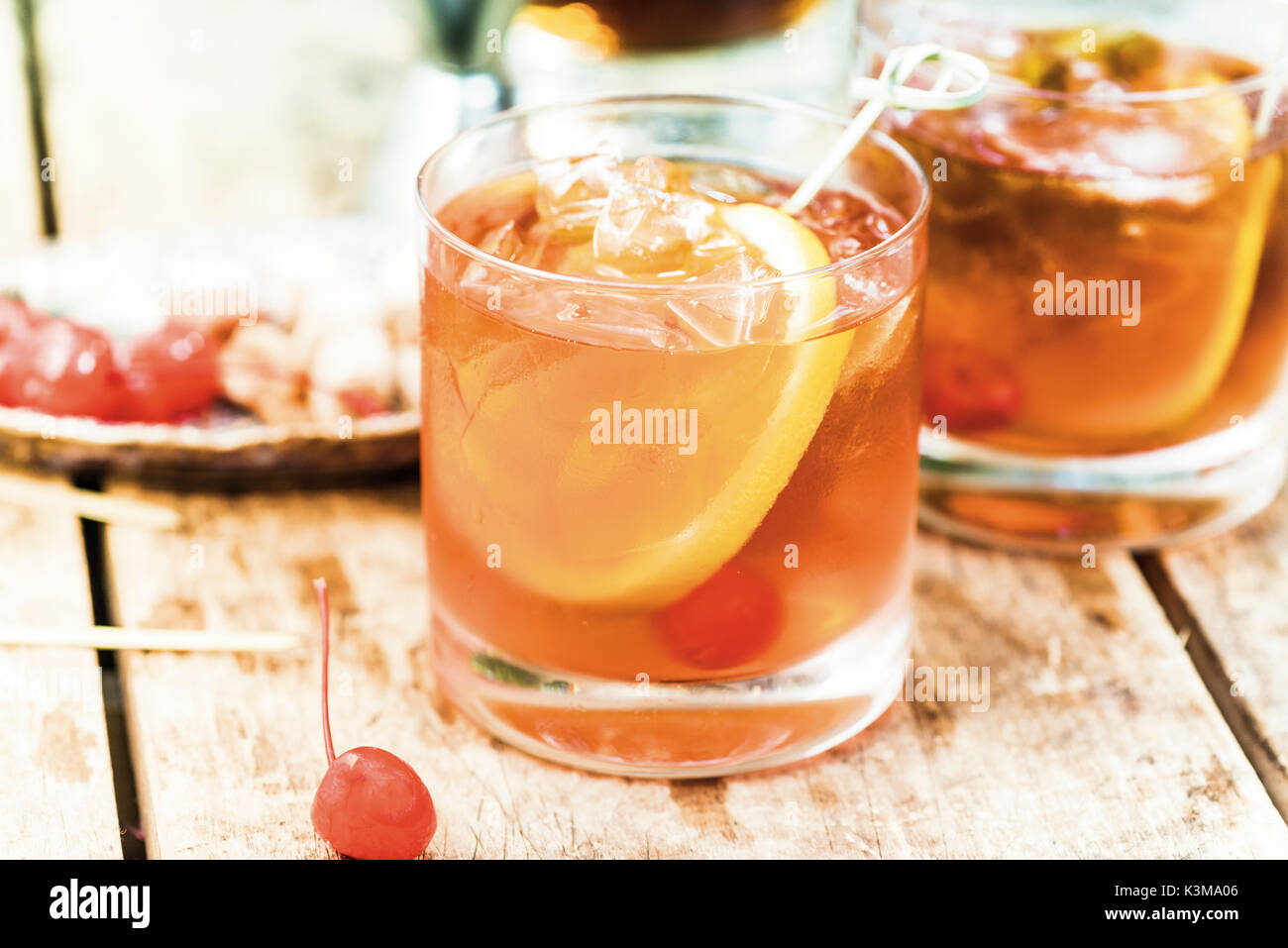 old fashion martini, cocktail - Stock Image