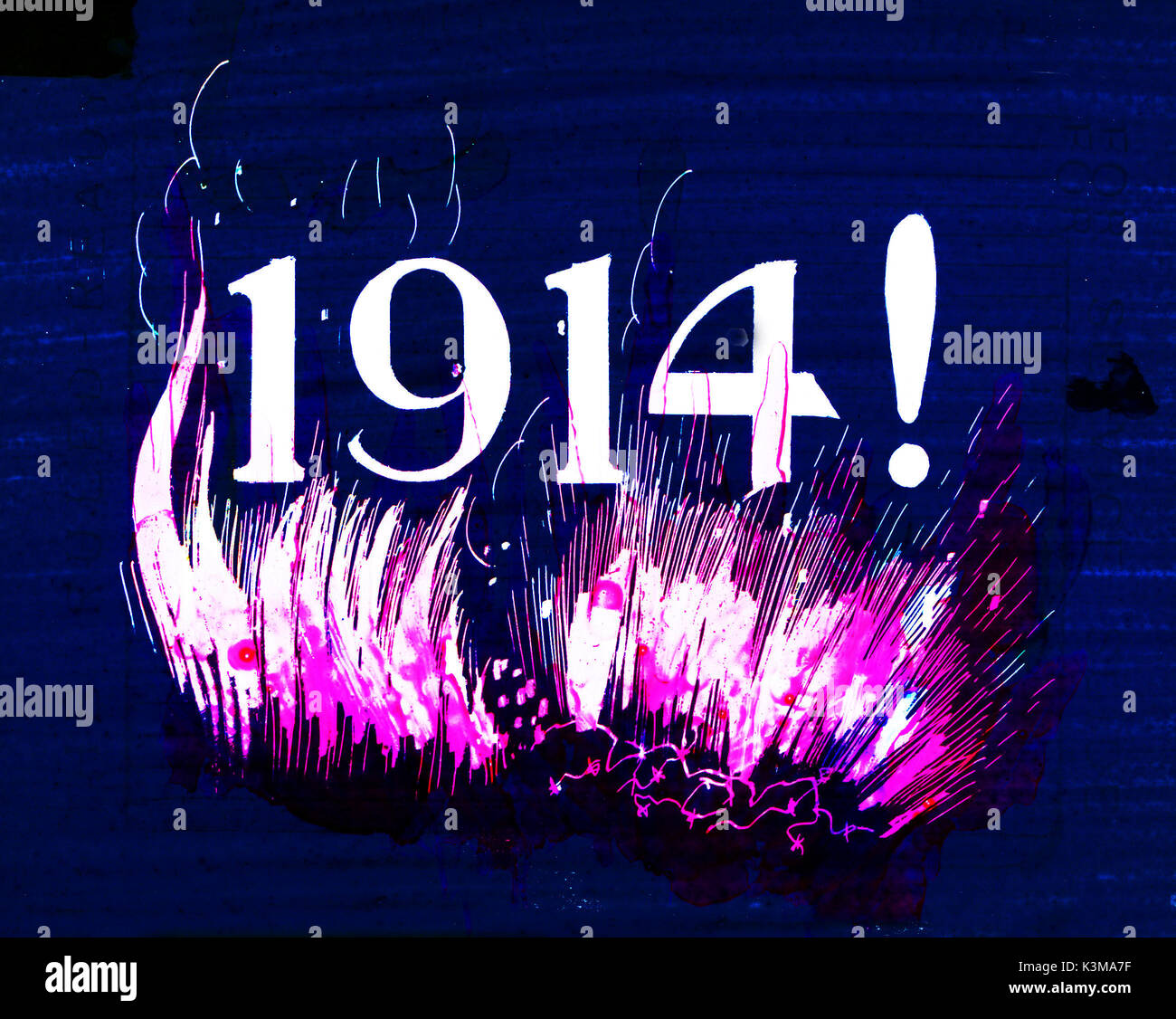 1914. The year World War One began.  This image is from a slide shown during an organ interlude in a cinema, possibly at the beginning of a recital of songs popular during the war, with the words projected on the screen - Stock Image