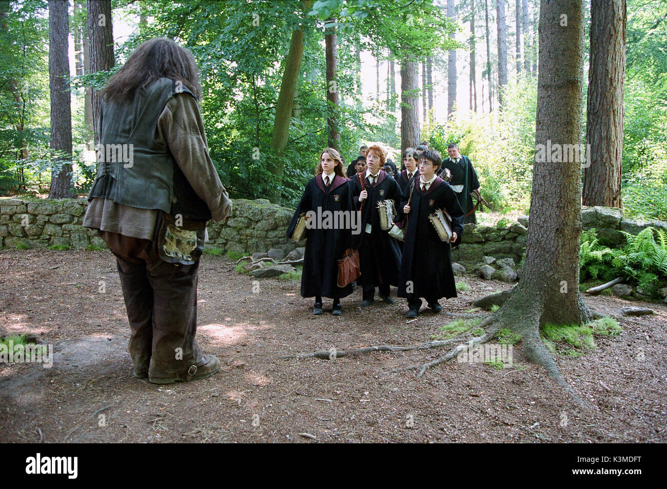 HARRY POTTER AND THE PRISONER OF AZKABAN [BR / US 2004] [L-R] ROBBIE COLTRANE as Hagrid, EMMA WATSON as Hermione Granger, RUPERT GRINT as Ron Weasley, DANIEL RADCLIFFE as Harry Potter     Date: 2004 - Stock Image