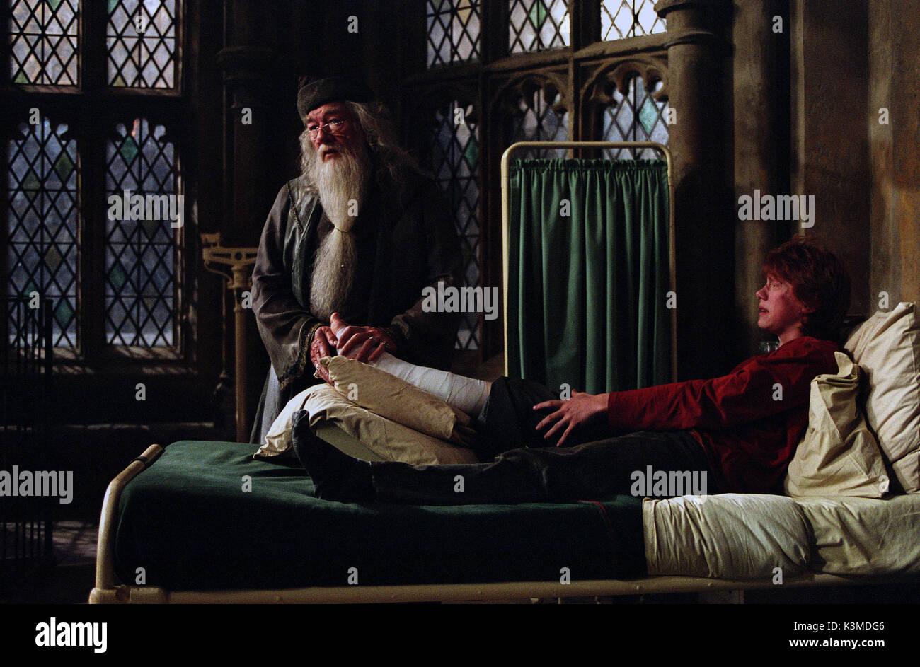 HARRY POTTER AND THE PRISONER OF AZKABAN [BR / US 2004] [L-R] MICHAEL GAMBON as Professor Dumbledore, RUPERT GRINT as Ron Weasley     Date: 2004 - Stock Image