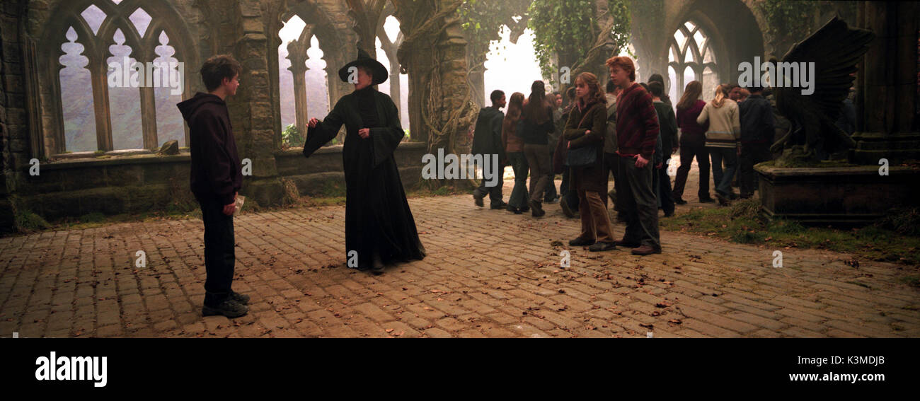 HARRY POTTER AND THE PRISONER OF AZKABAN [BR / US 2004] [L-R] DANIEL RADCLIFFE as Harry Potter, MAGGIE SMITH as Professor McGonagall, EMMA WATSON as Hermione Granger, RUPERT GRINT as Ron Weasley     Date: 2004 - Stock Image