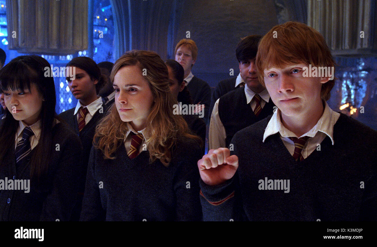 HARRY POTTER AND THE ORDER OF THE PHOENIX [US / BR 2007] [L-R] KATIE LEUNG as Cho Chang, EMMA WATSON as Hermione Granger, RUPERT GRINT as Ron Weasley     Date: 2007 - Stock Image