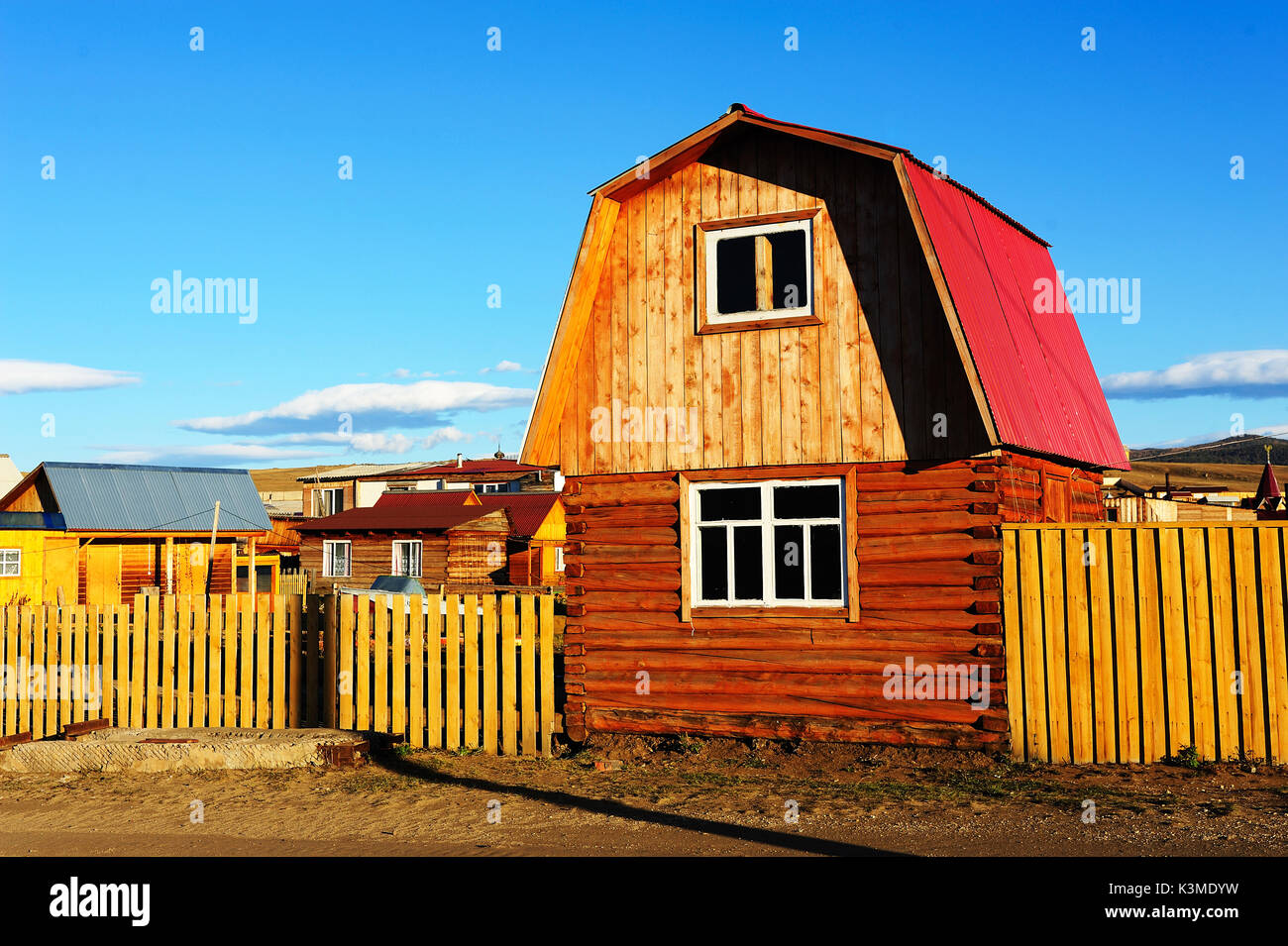 Siberian wooden houses in olkhon island,Siberia,Russia. - Stock Image