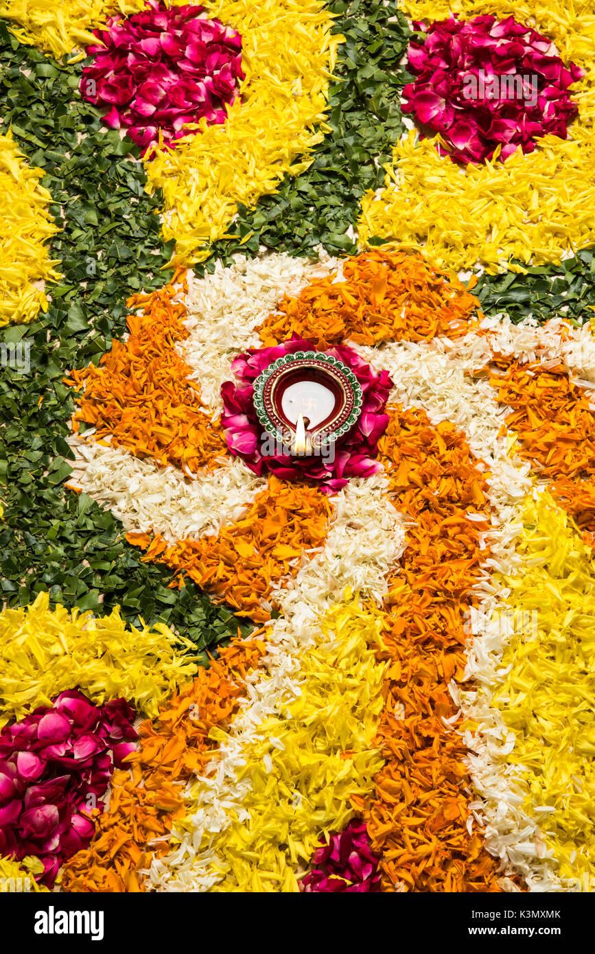 Flower Rangoli For Diwali Or Pongal Or Onam Made Using Marigold Or Stock Photo Alamy