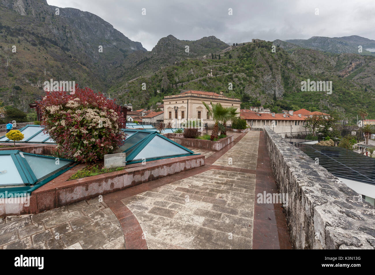 Kotor, view to the fortifications from the walls of the old city. Montenegro - Stock Image
