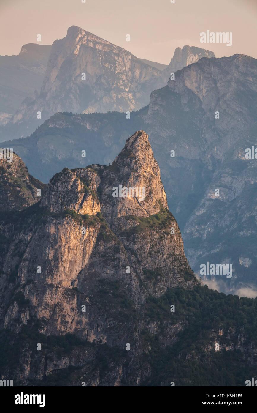 Belluno, Veneto, Italy, Dolomiti Bellunesi National Park. The characteristic pointed shape of Rocheta - Stock Image