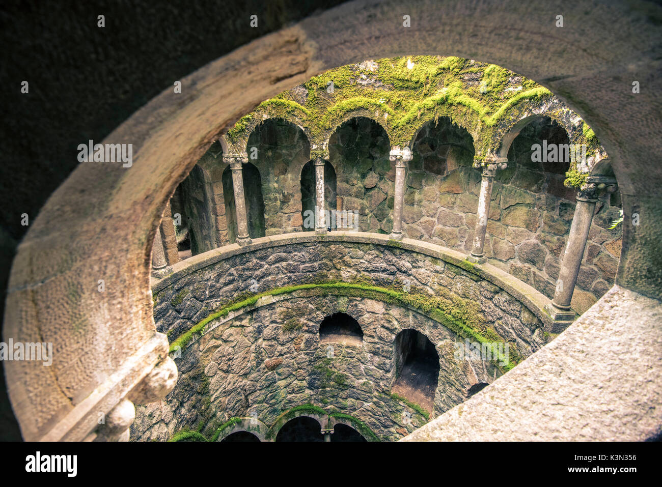 Sintra, Lisbon district, Portugal. Initiation well, also called as Inverted Tower. - Stock Image
