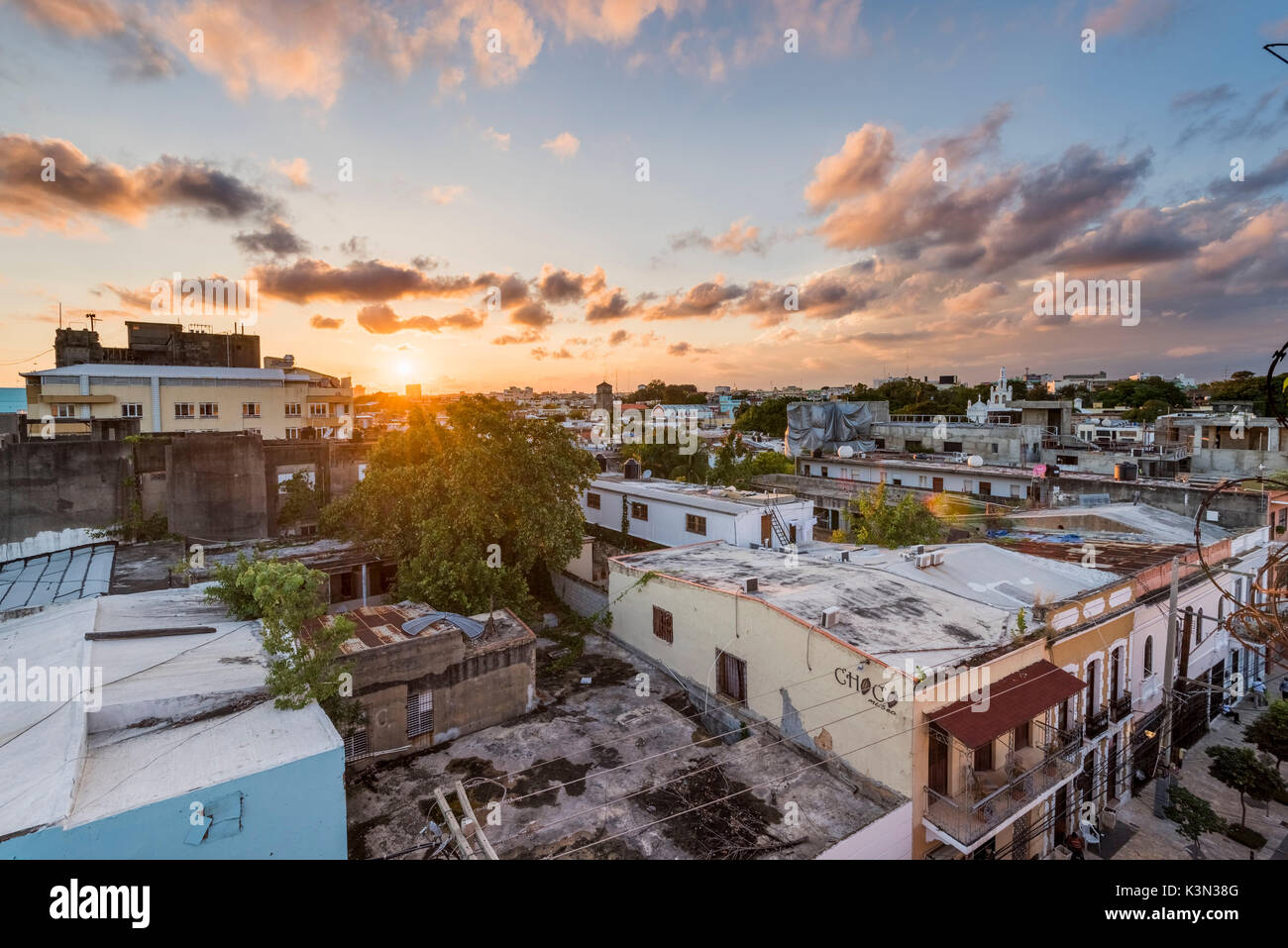 Colonial Zone (Ciudad Colonial), Santo Domingo, Dominican Republic. Cityscape at sunset. - Stock Image