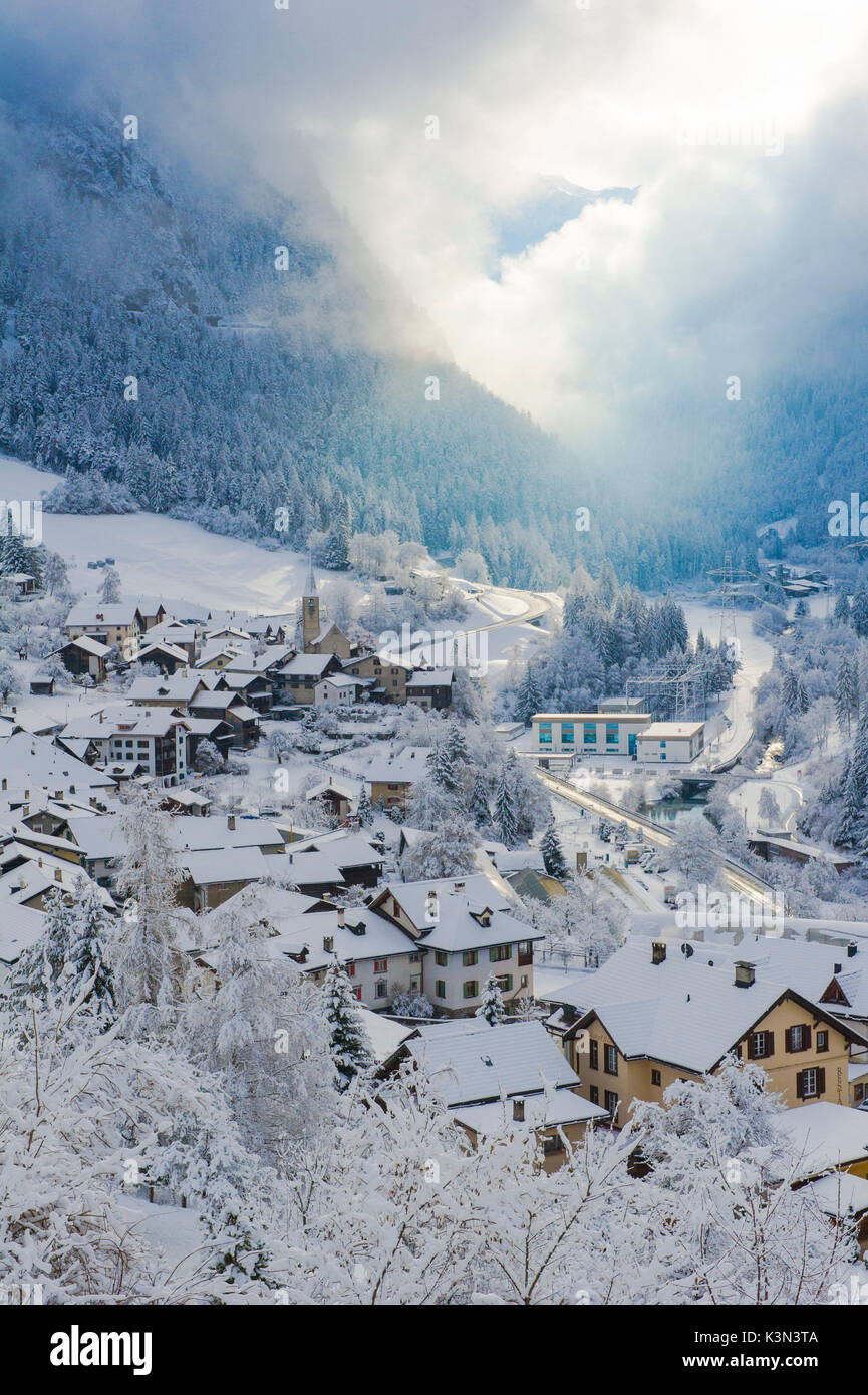 The small town of Filisur with snow in winter. Switzerland, Europe - Stock Image