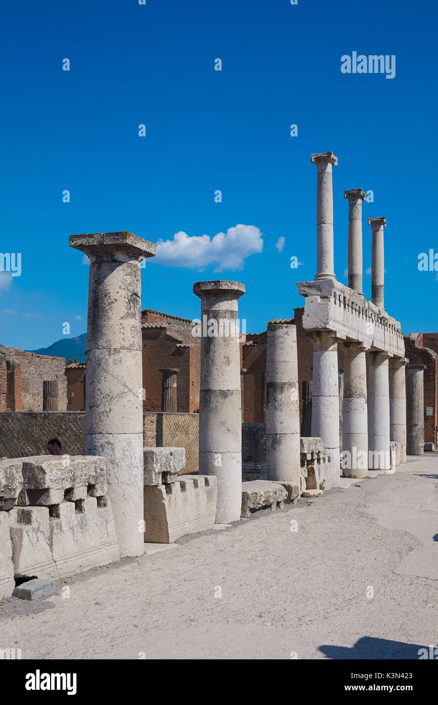 Remains of colonnade at the Roman ruins of Pompeii, Italy - Stock Image