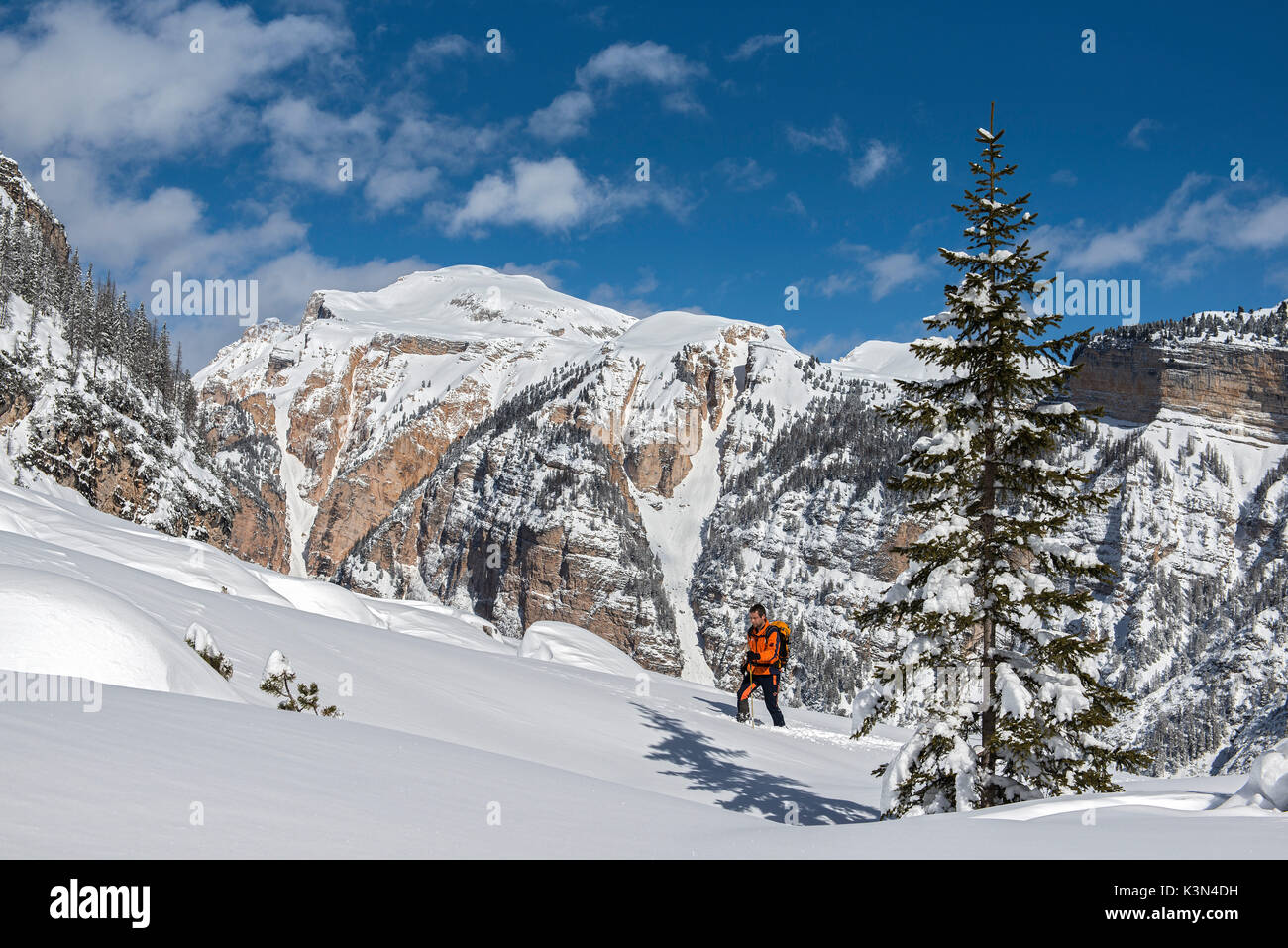 Fanes, Dolomites, South Tyrol, Italy. Ski mountaineer in the ascent to the refuges Fanes and Lavarella Stock Photo