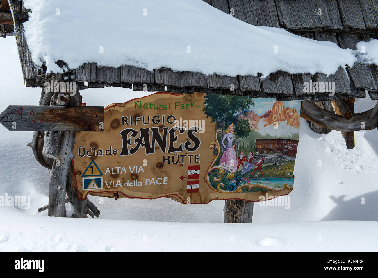 Fanes, Dolomites, South Tyrol, Italy. Indication to the refuge of Fanes - Stock Image