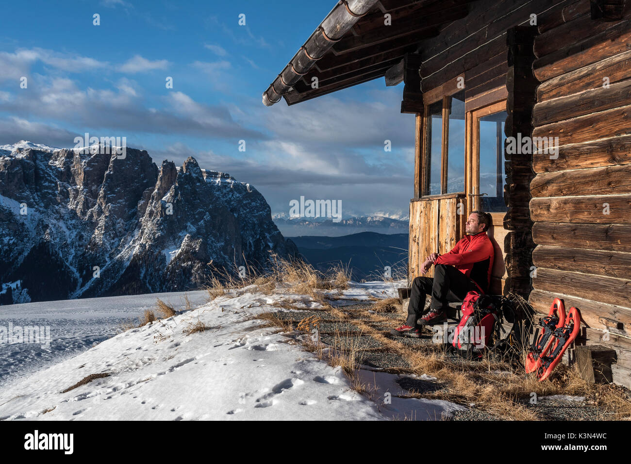 Alpe di Siusi/Seiser Alm, Dolomites, South Tyrol, Italy. Short break - Stock Image