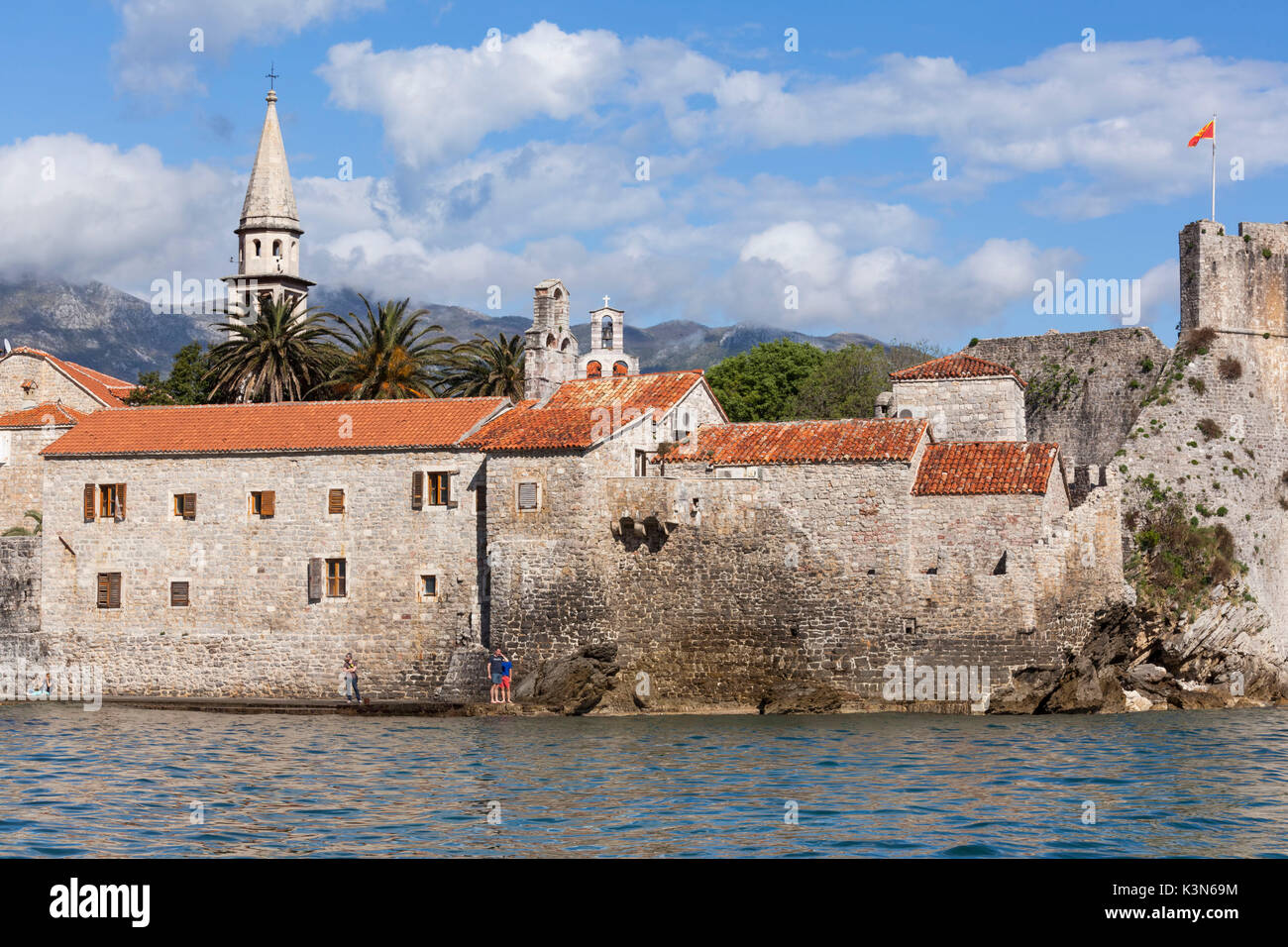 Europe, Balkans, Montenegro. Detail of Budva old town with the walls Stock Photo