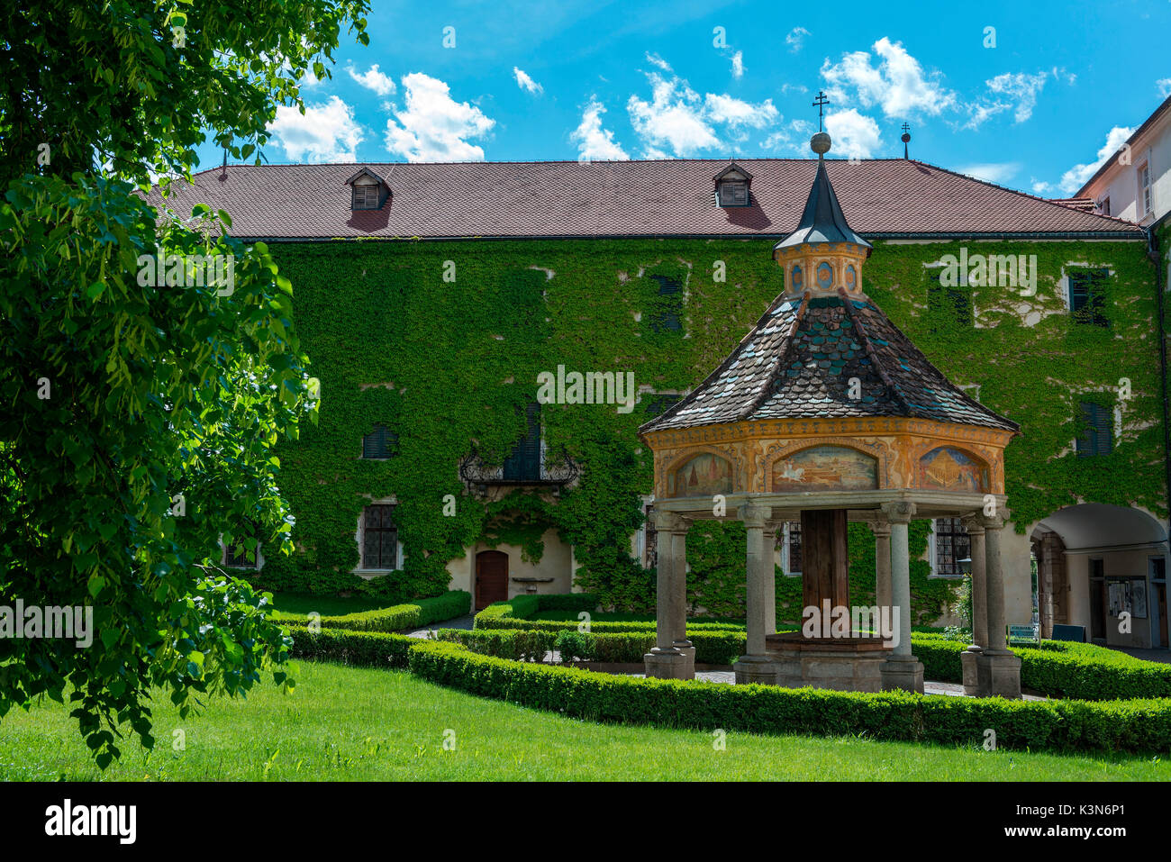 Novacella/Neustift, South Tyrol, Italy. The Fountain of Miracles in  Monastery Novacella/Neustift shows images of the seven wonders of the world and the Monastery as the eighth wonder of the world. - Stock Image