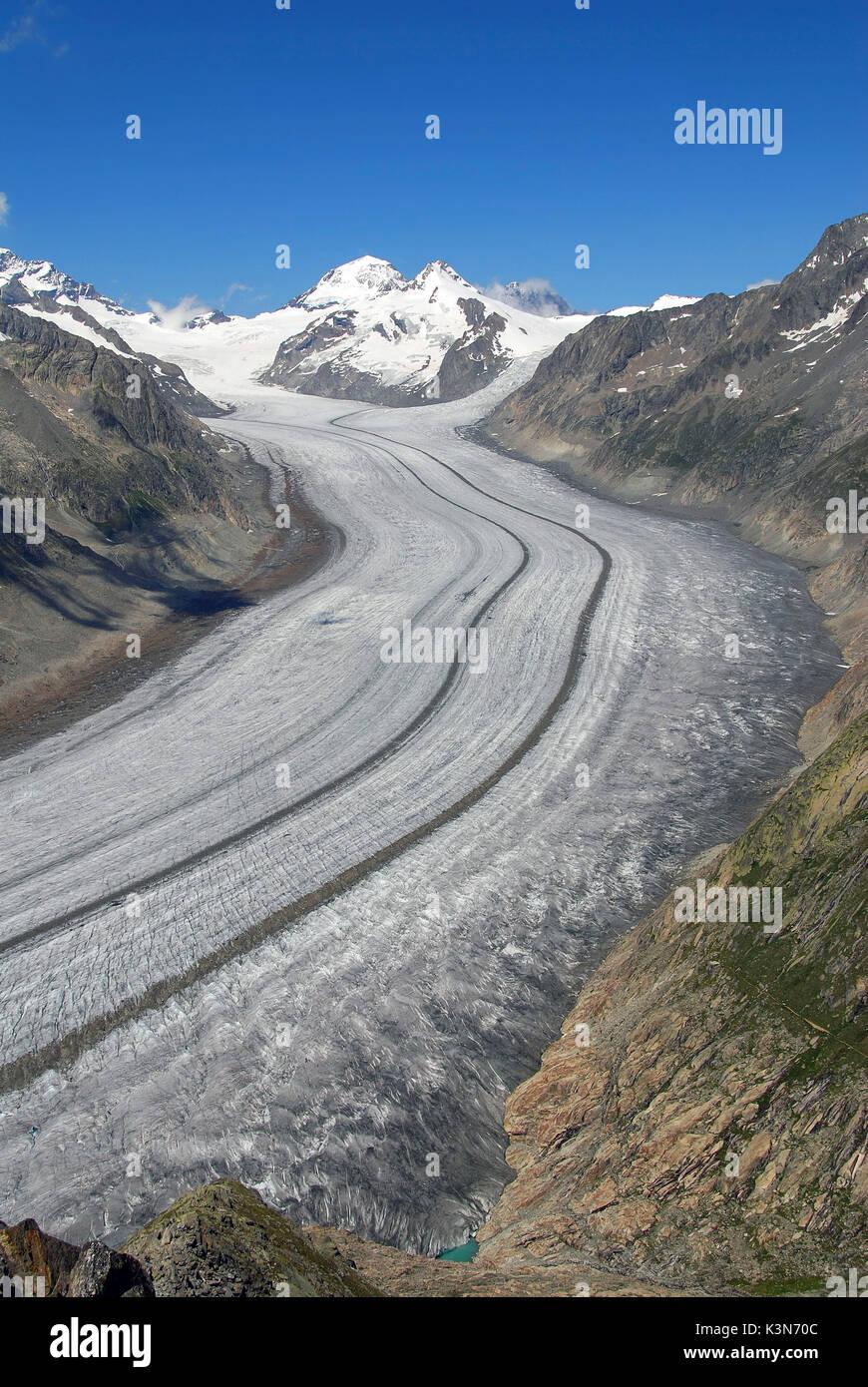 Aletsch Glacier (Aletschgletscher) from Eggishorn with Mönch on background, Berner Oberland Switzerland, - Stock Image
