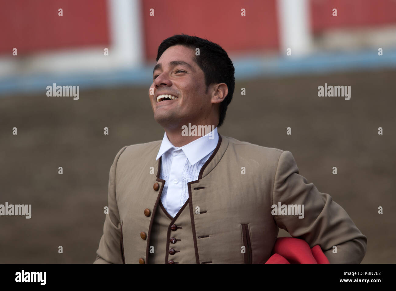 June 18, 2017 Pujili, Ecuador: bullfighter with a happy smile moments after the sacrifice of the bull - Stock Image