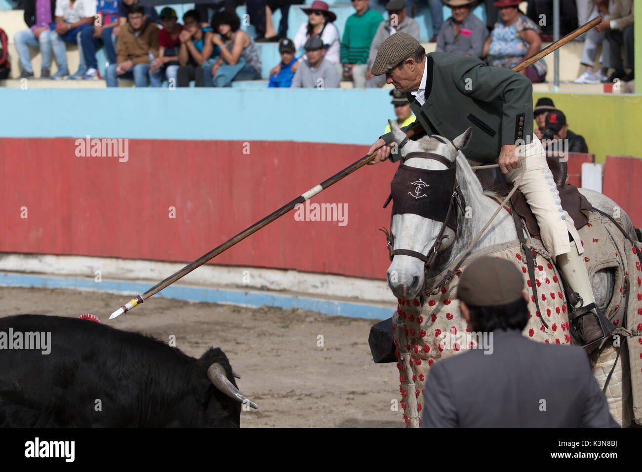 June 18, 2017 Pujili, Ecuador: picador on horseback redy to pierce the back of the bull with lance Stock Photo
